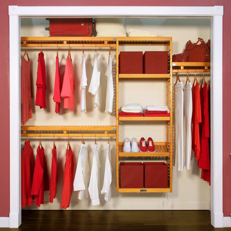 Exceptional John Louis Home Simplicity 12 Inch Honey Maple Closet System   Free  Shipping Today   Overstock   15293215