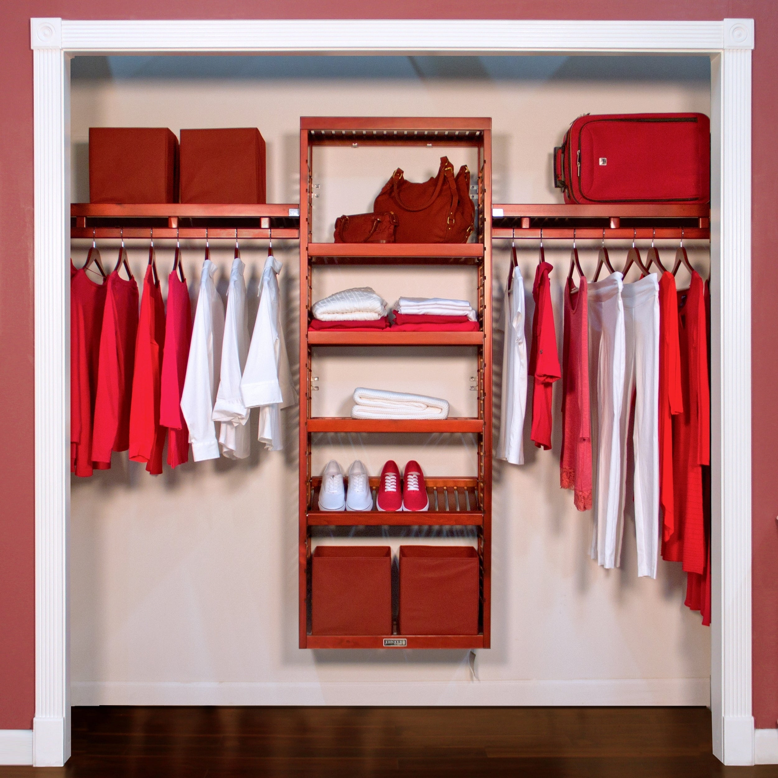 Perfect Shop John Louis Home Red Mahogany Solid Wood Closet Organizer   Free  Shipping Today   Overstock.com   7915137