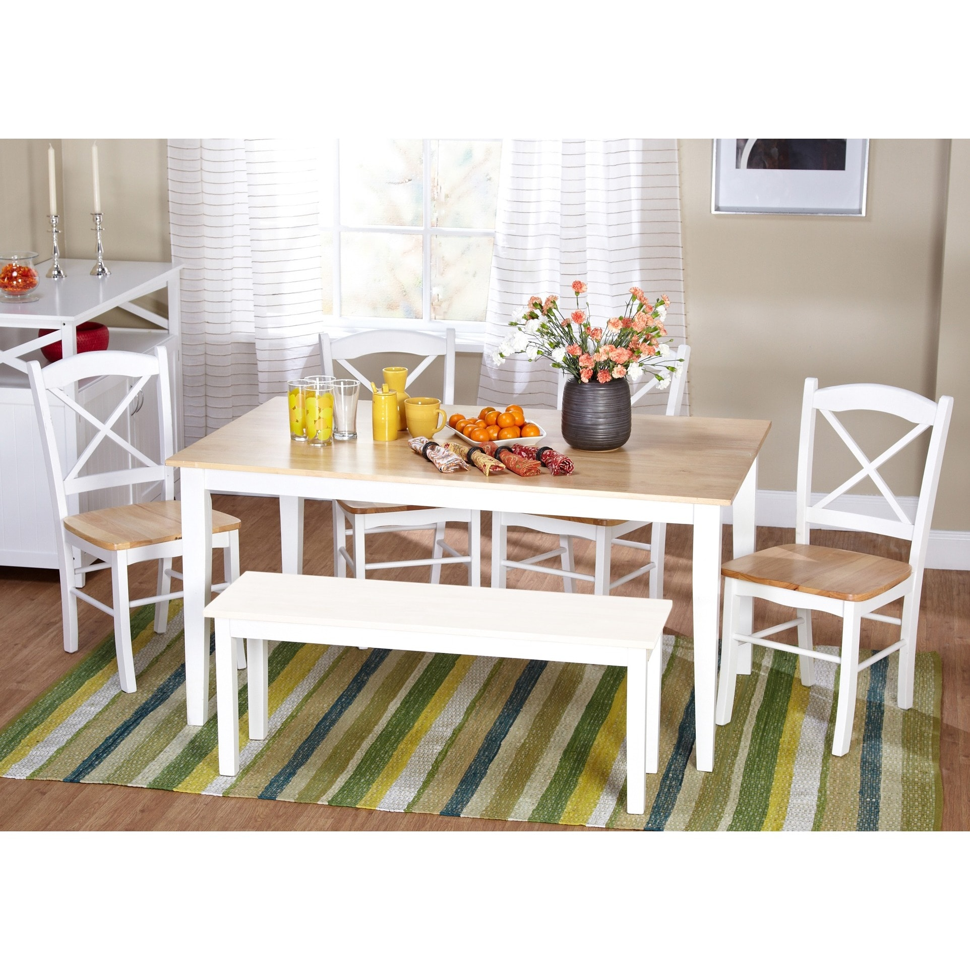 Simple Living Tiffany 6-piece Dining Set with Dining Bench - Free ...