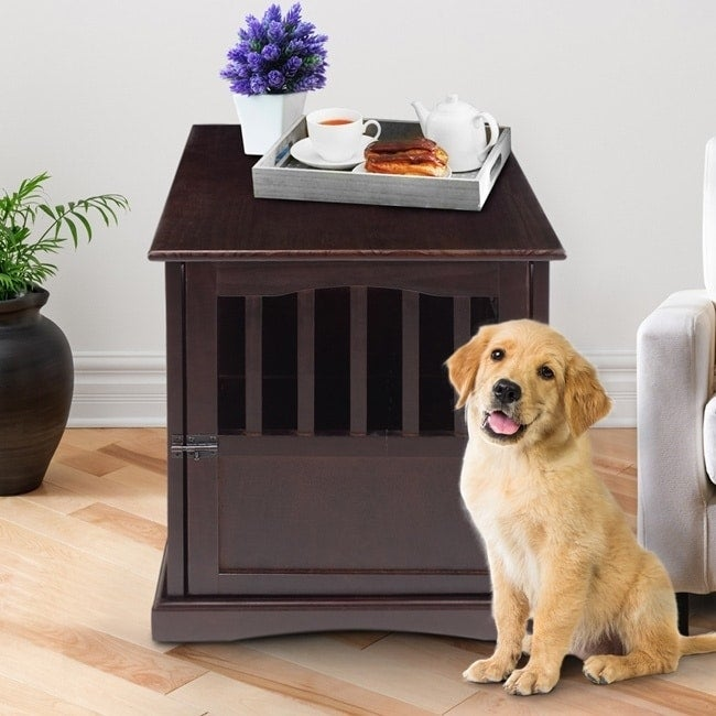 Wooden End Table And Pet Crate   Free Shipping Today   Overstock   15293900