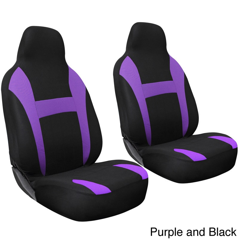 Oxgord 2 Piece Integrated High Back Universal Fit Bucket Seat Cover Set For Two Front Chairs
