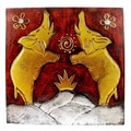 Handmade in Bali Wooden Elephant Pair 12 x 12-inch Wall Art (Indonesia)