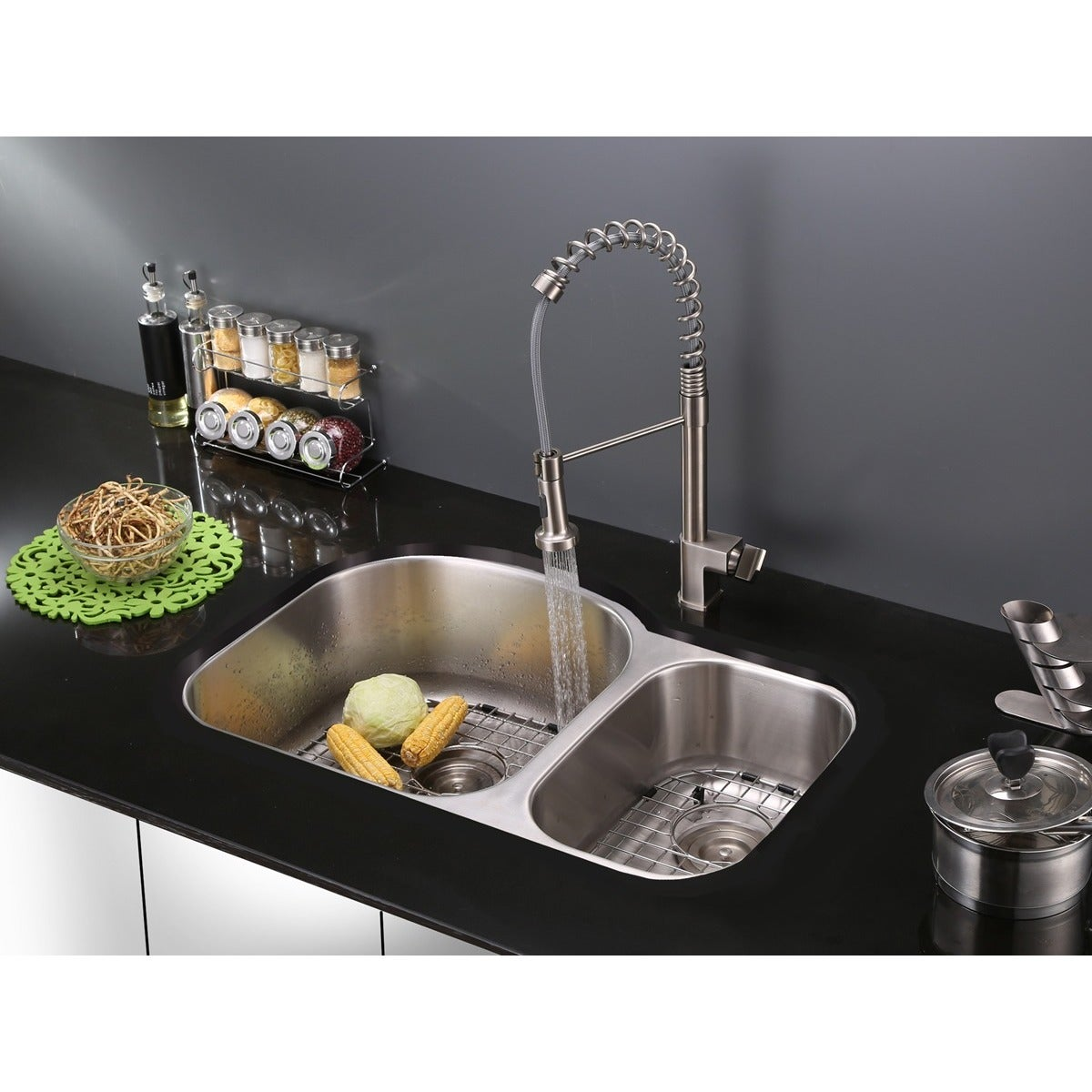 Shop Ruvati Stainless Steel Pullout Spray Kitchen Faucet with Soap ...