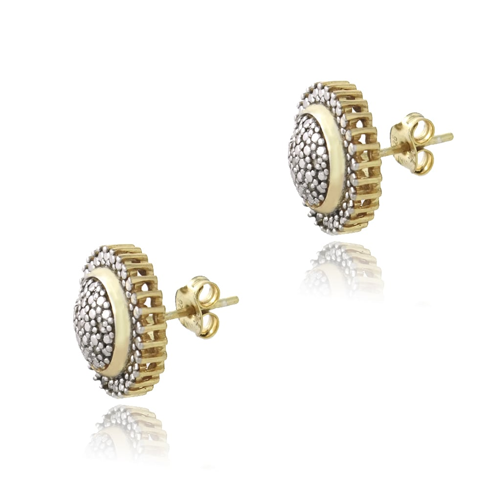 bcbc86c23 Shop DB Designs 18k Gold Over Silver 1/10ct TDW Diamond Sunburst Earrings -  On Sale - Free Shipping On Orders Over $45 - Overstock - 7920283