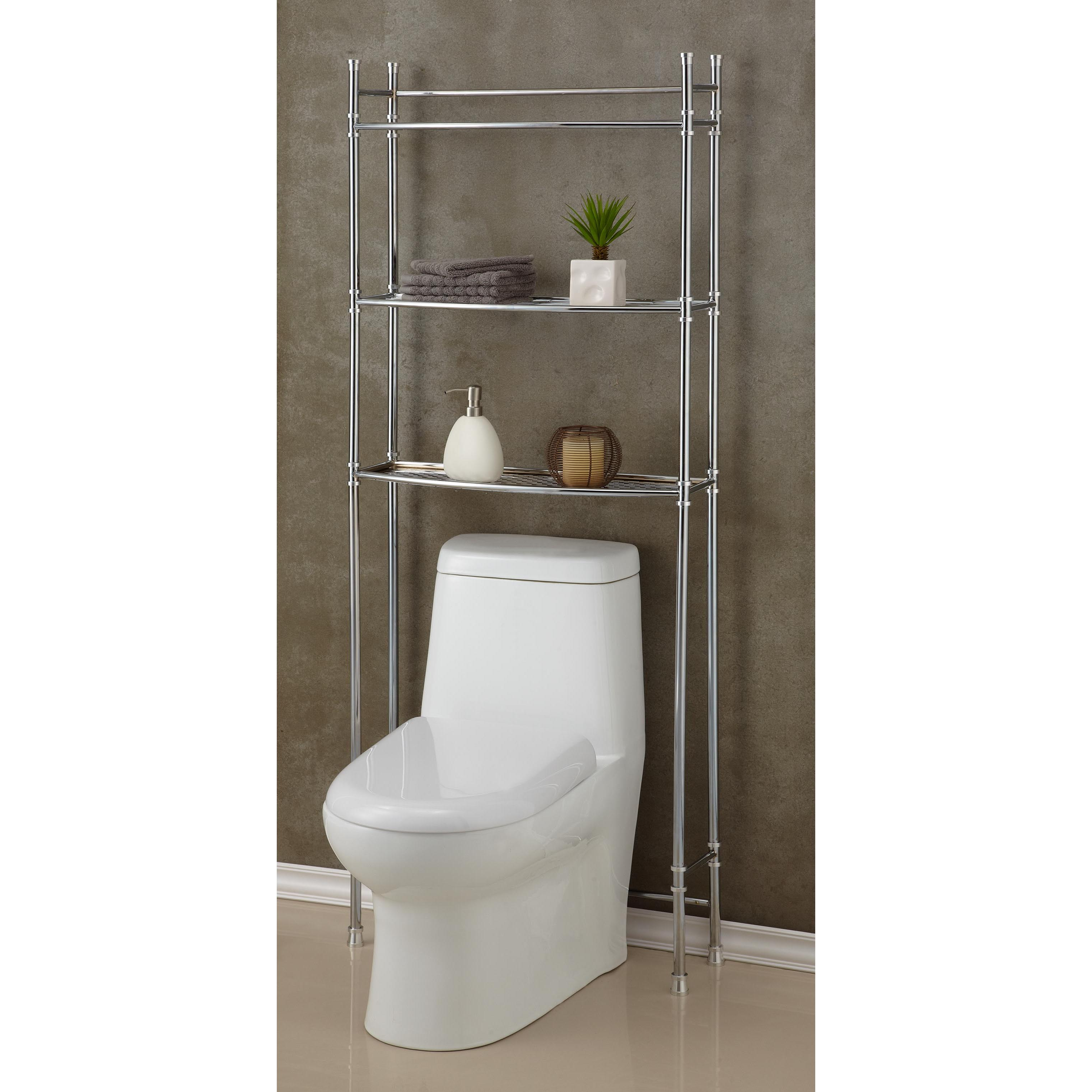 Shop Chrome Bathroom Shelf Space Saver - Silver - Free Shipping ...
