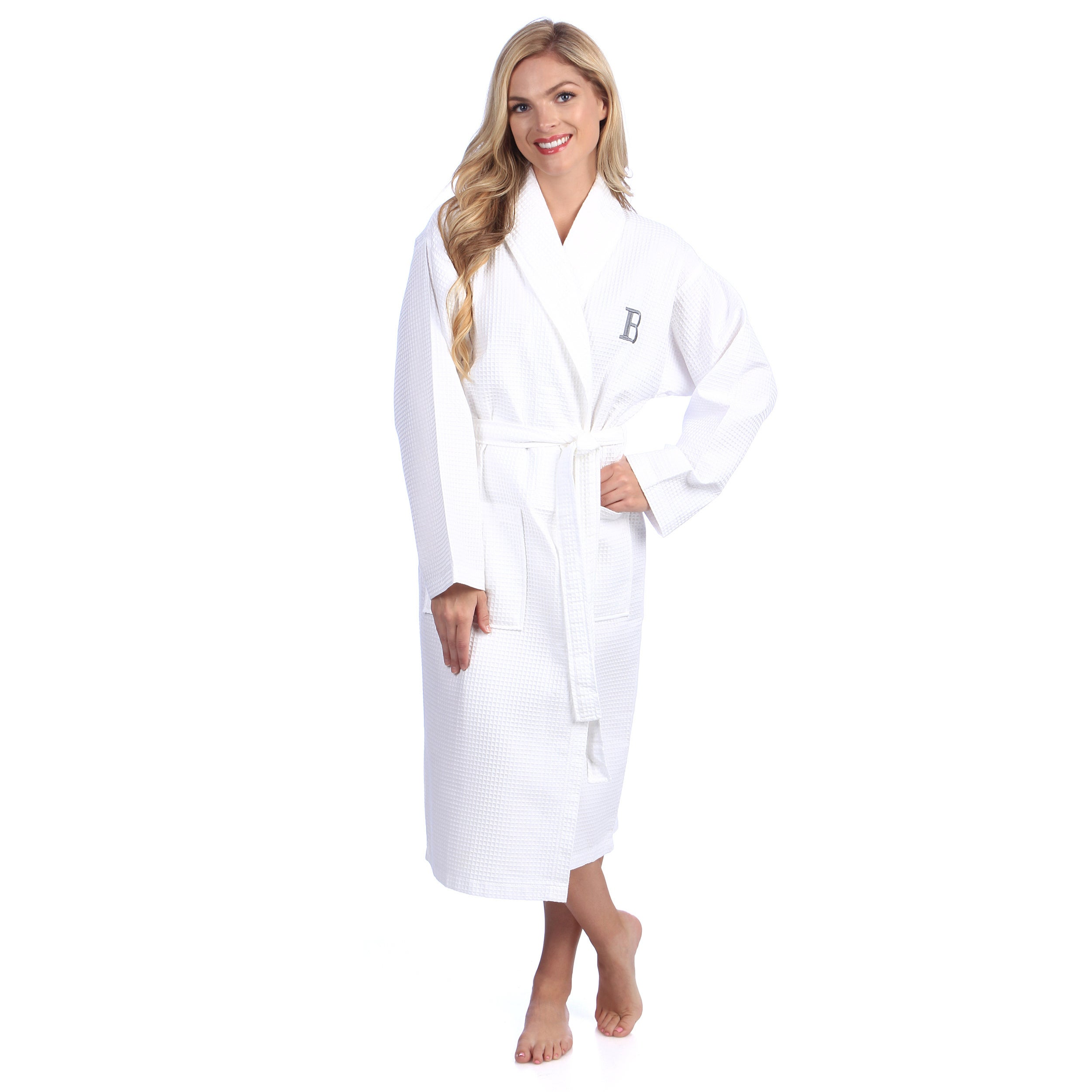 Authentic Hotel and Spa Monogrammed Turkish Cotton Unisex Waffle Weave Bath  Robe 8b5610ac0