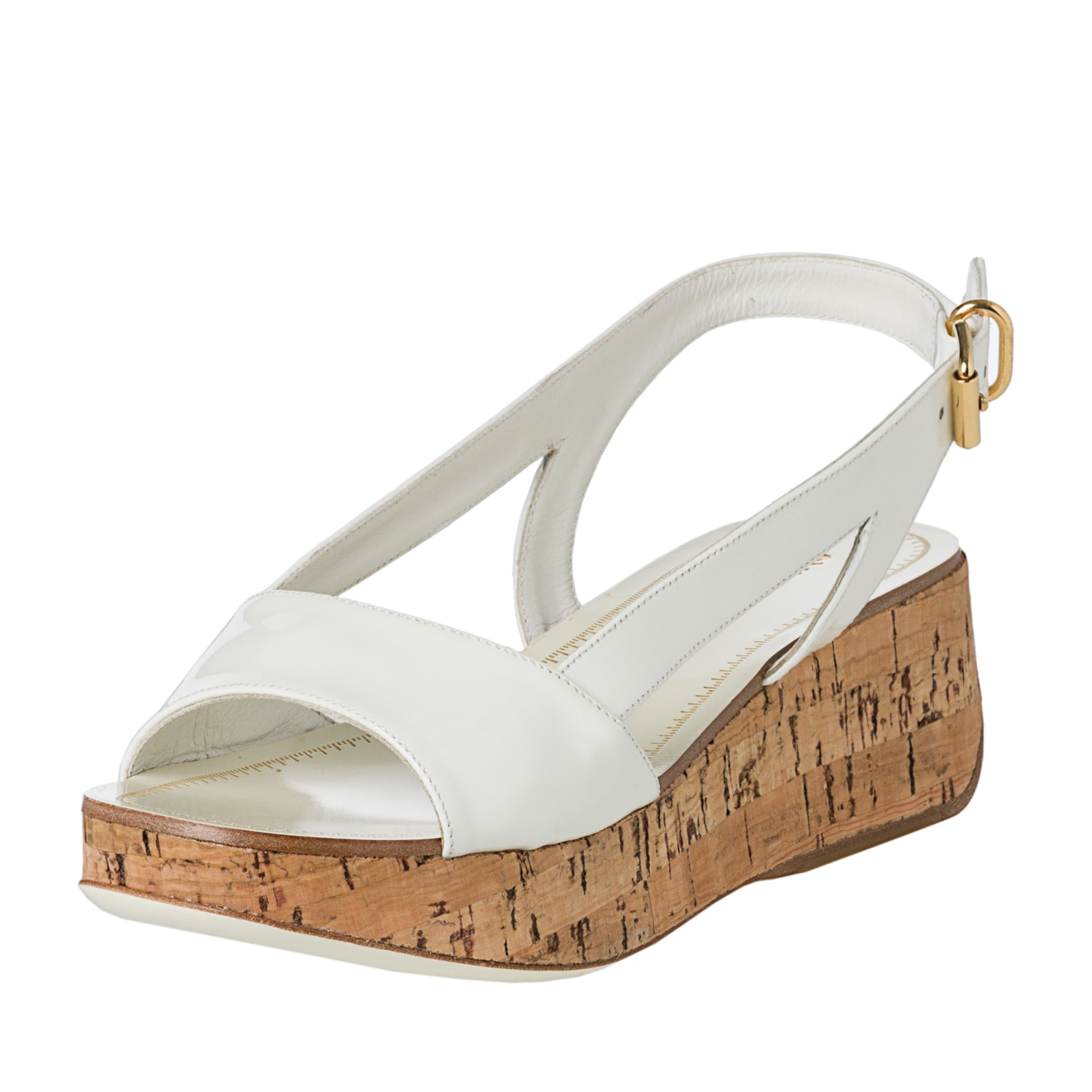 fe3df69e84d Shop Miu Miu Women s White Patent Leather Cork Wedge Sandals - Free  Shipping Today - Overstock - 7920379