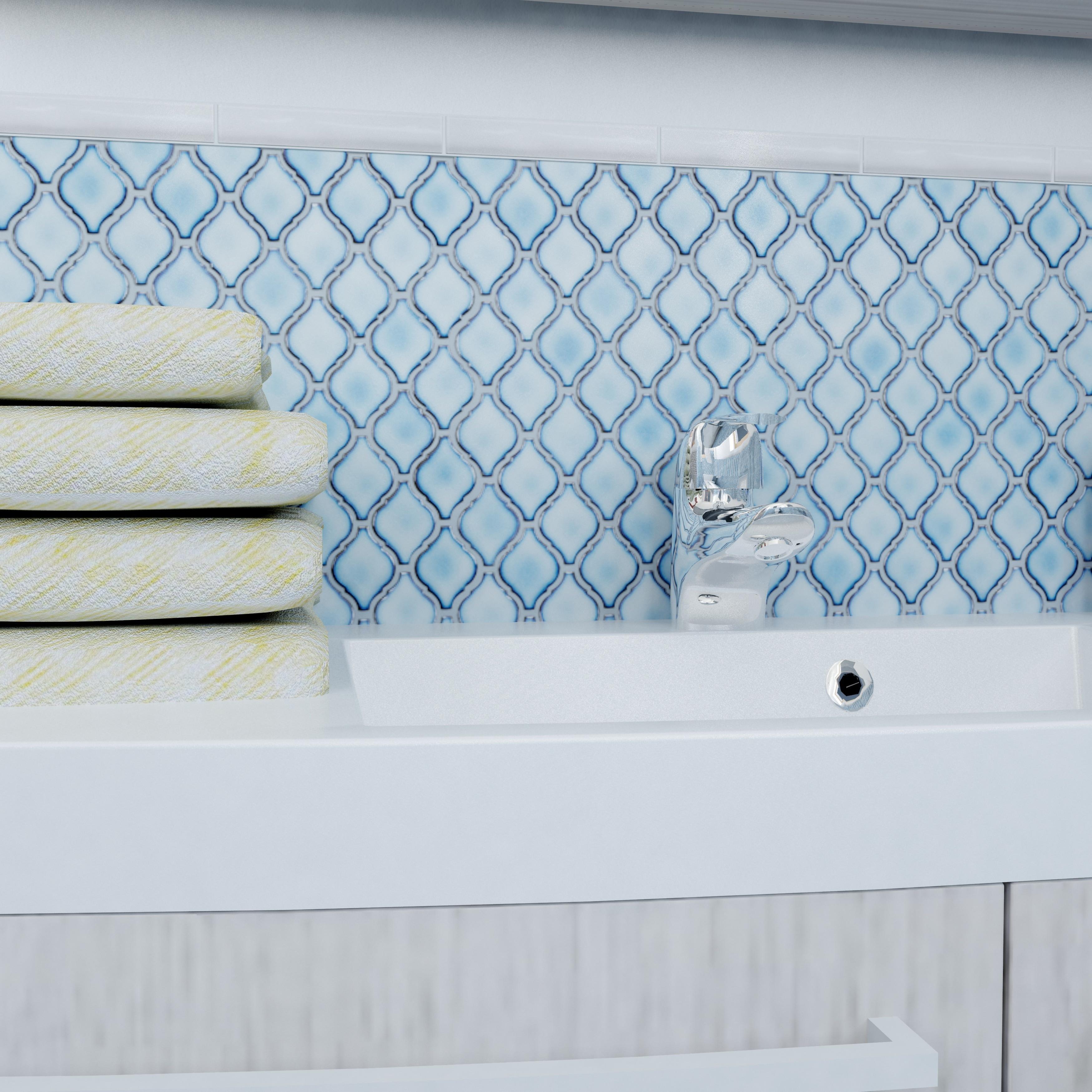 Shop SomerTile 9.875x11.125-inch Casablanca Aella Porcelain Mosaic ...