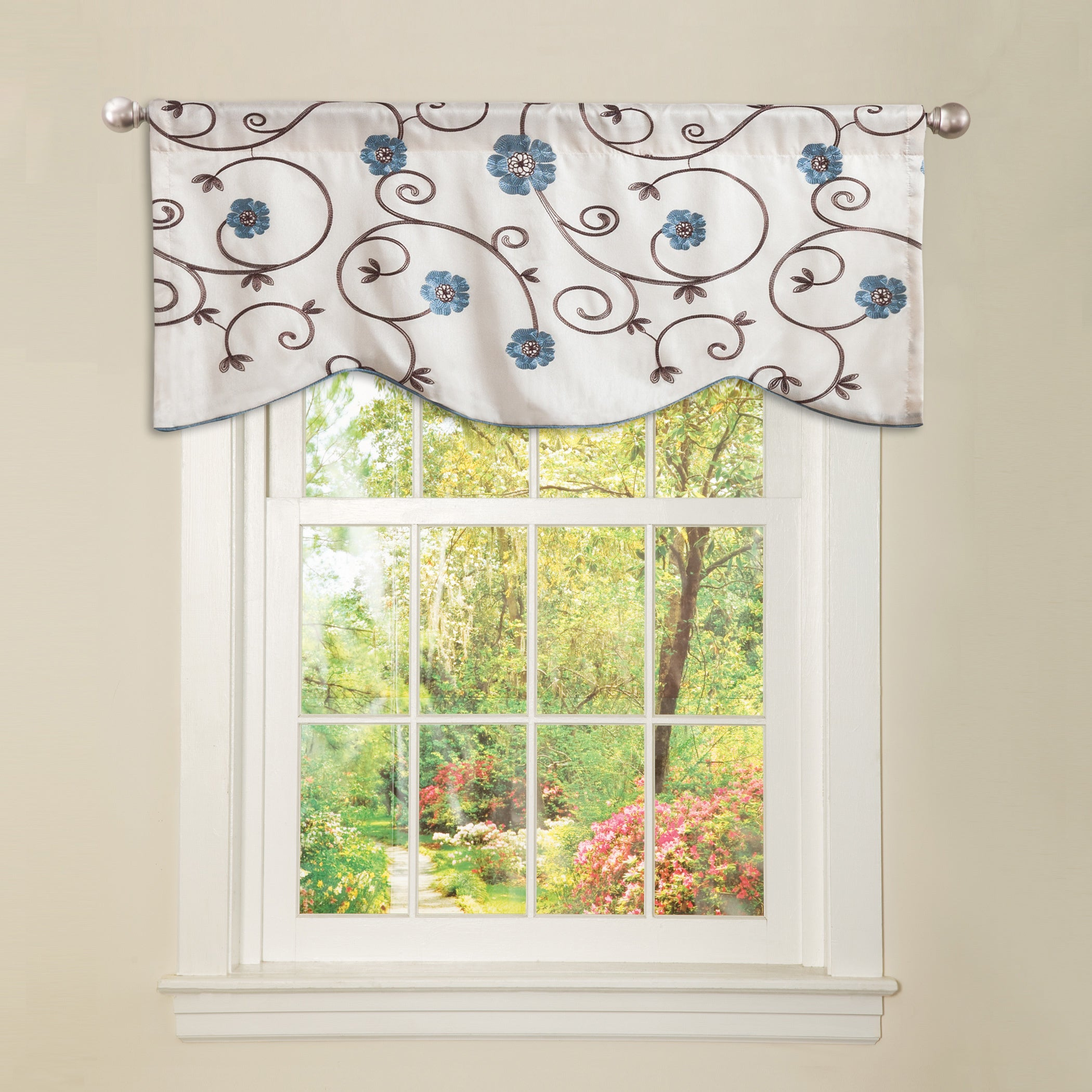 blue window valance striped shop the curated nomad lurline blue floral valance on sale free shipping orders over 45 overstockcom 20931236