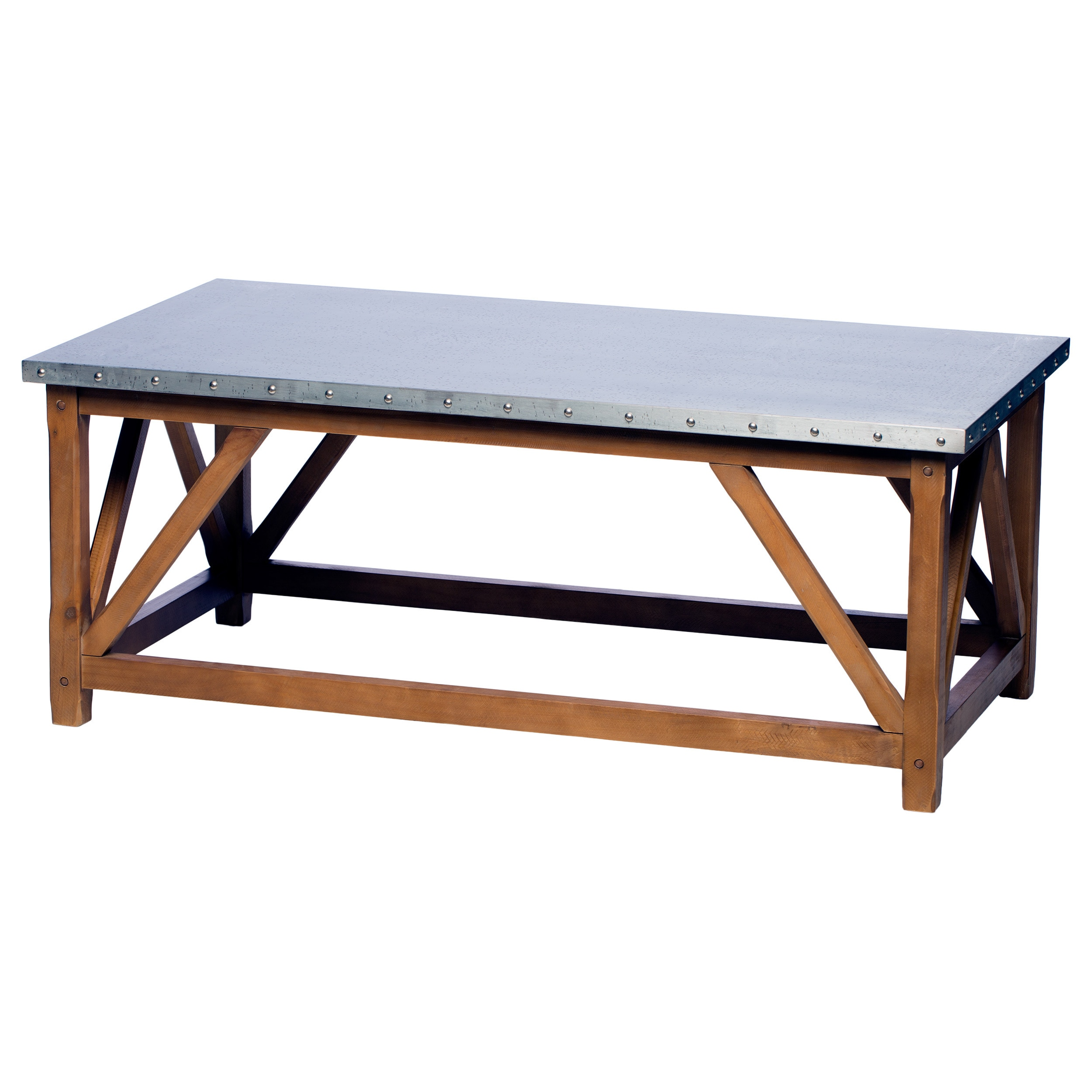 Zinc Top Bridge Coffee Table Free Shipping Today Overstock