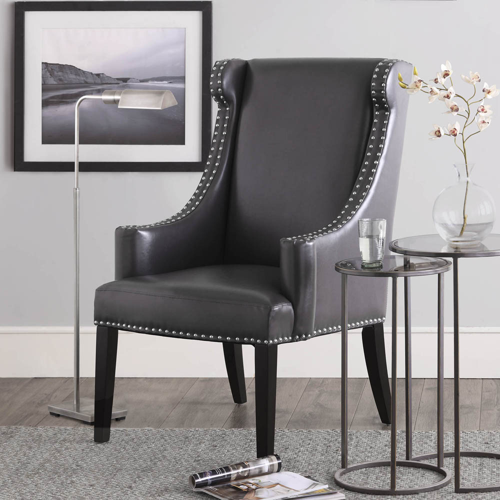 Stansbury Grey Bonded Leather Wing Chair Free Shipping Today 7931931