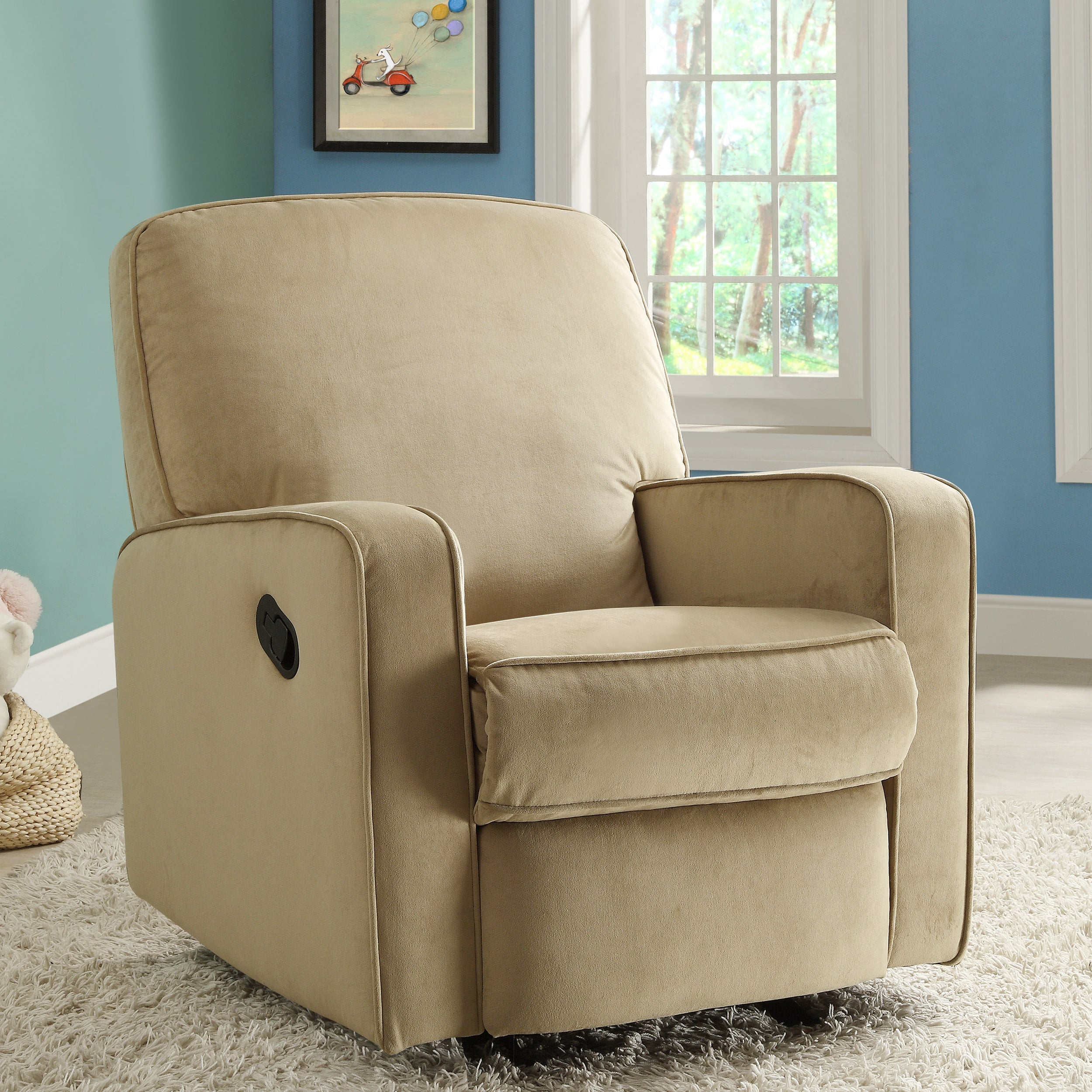 Bentley Camel Brown Fabric Modern Nursery Swivel Glider Recliner Chair On Free Shipping Today 7942155
