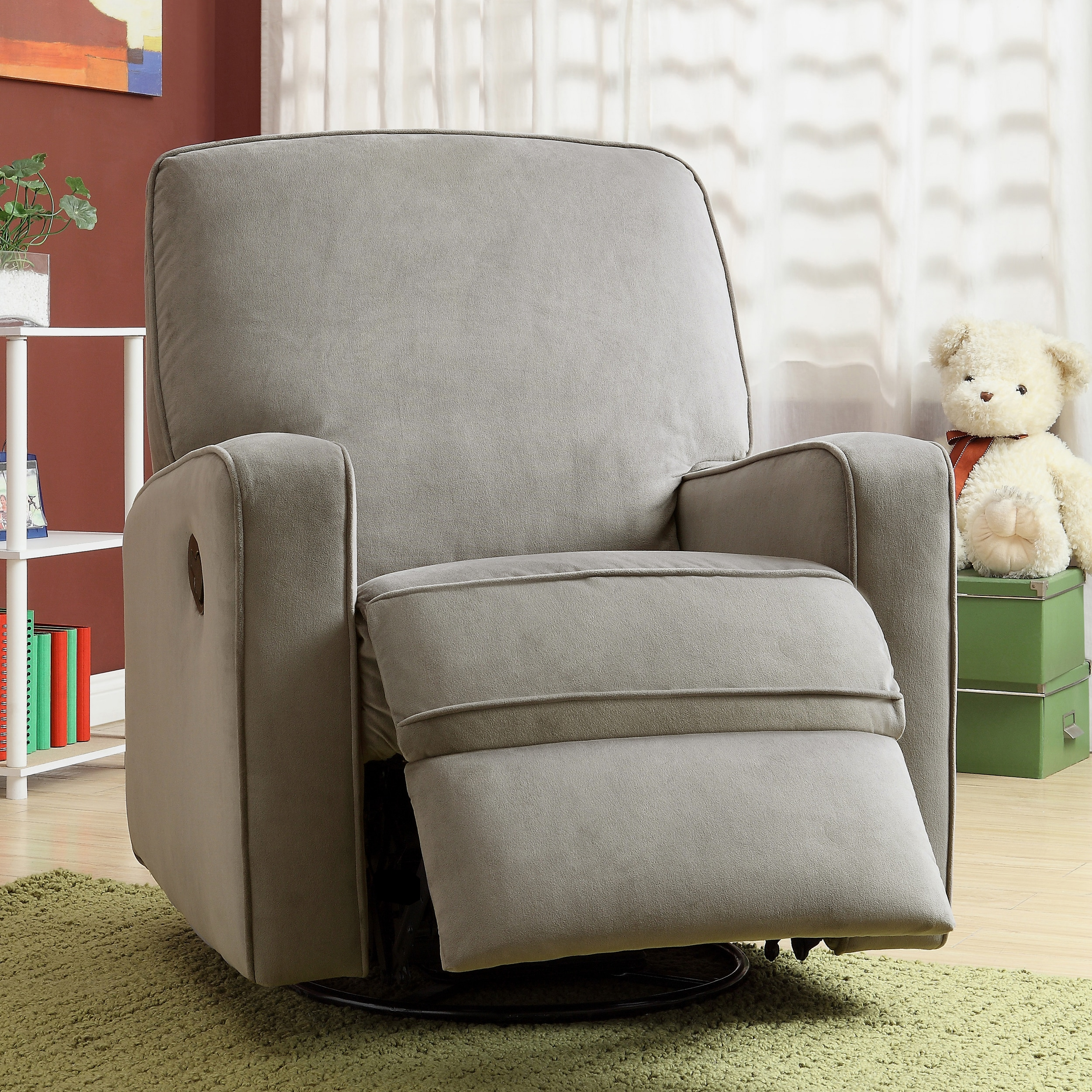 Colton Gray Fabric Modern Nursery Swivel Glider Recliner Chair On Free Shipping Today 7942163