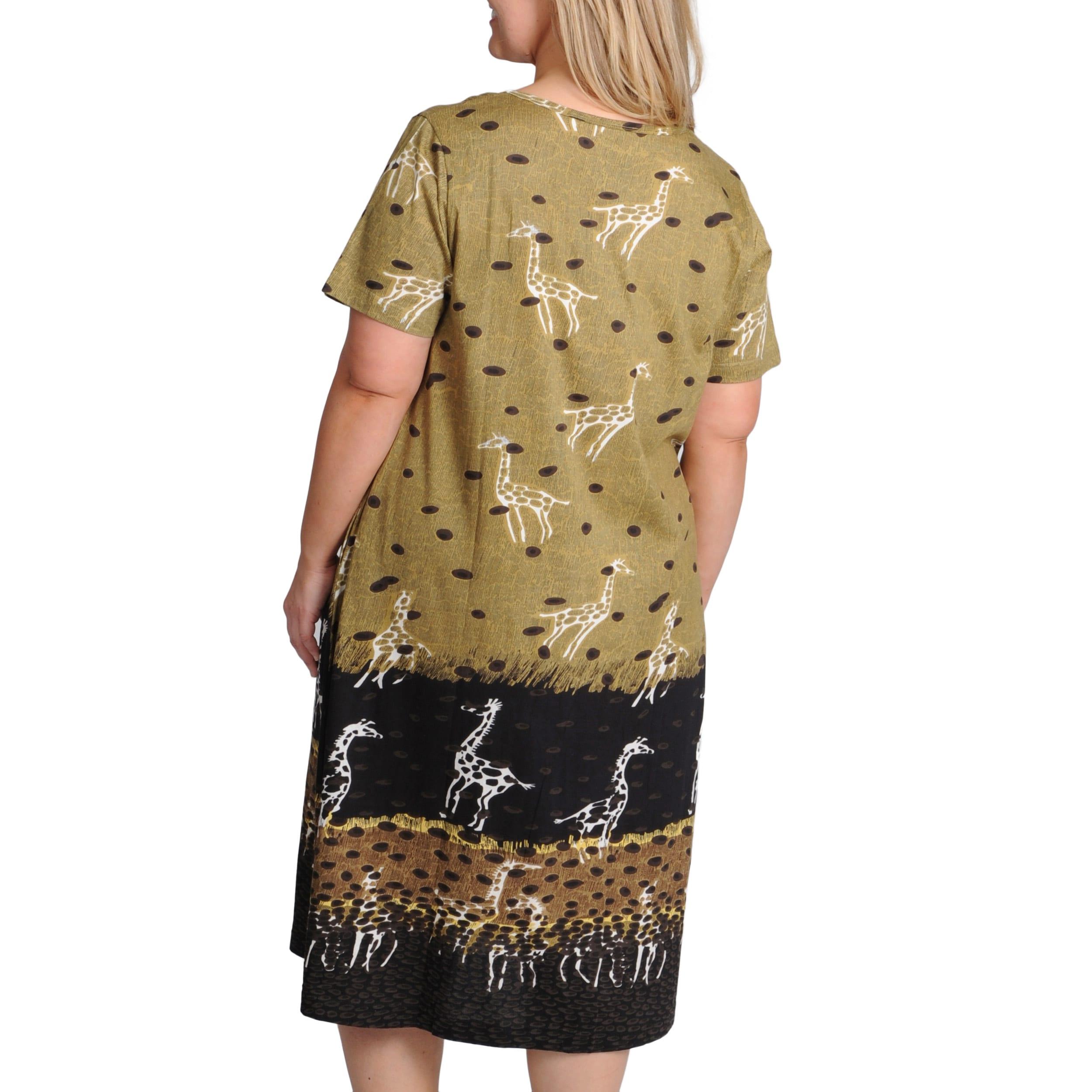 La Cera Womens Plus Size Giraffe Print A Line Knit Dress Free