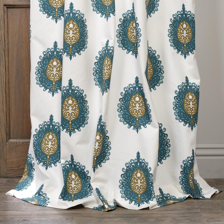 Exclusive Fabrics Teal Mayan Printed Cotton Curtain Panel - Free ...