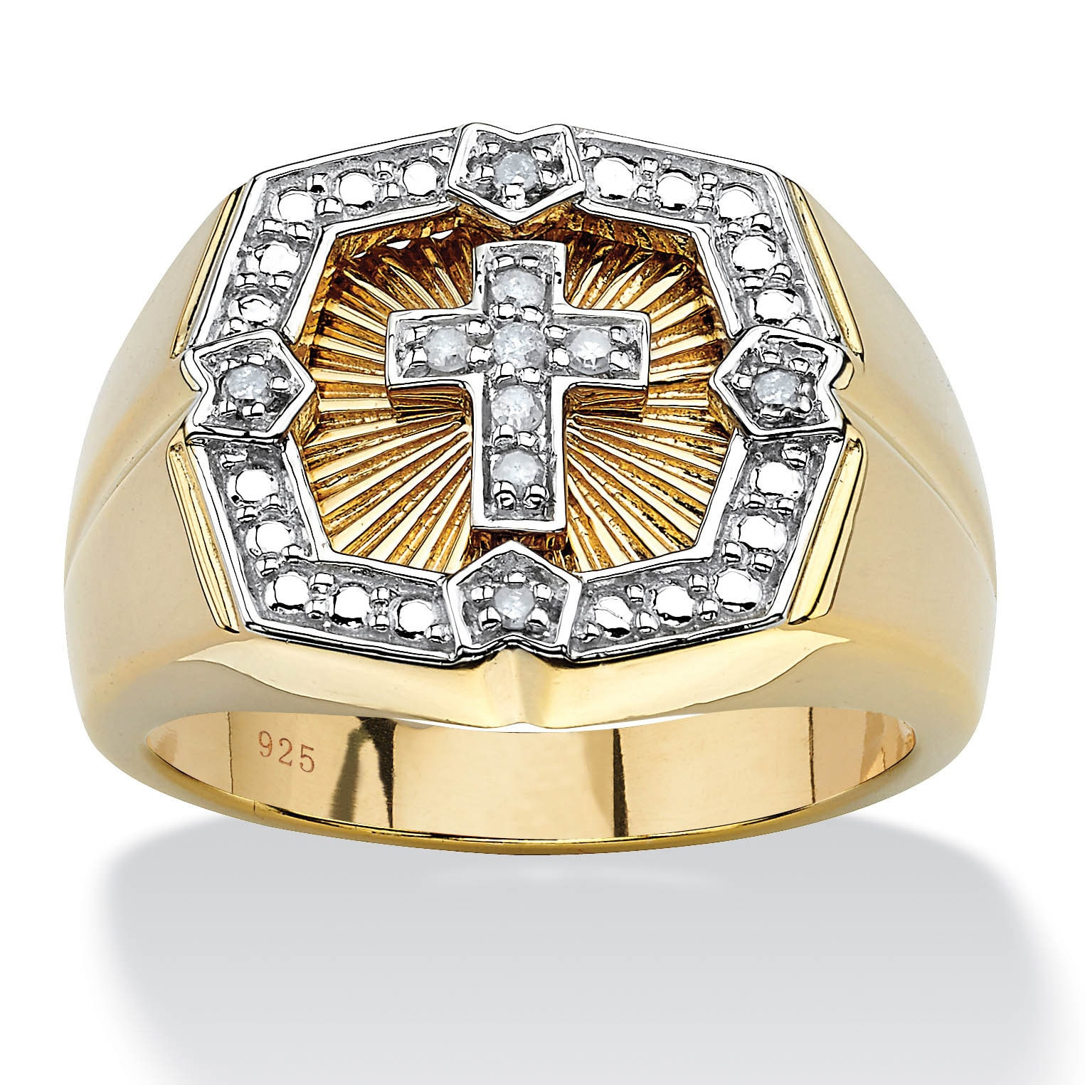 Shop Men\'s .10 TCW Round Diamond 18k Gold over Sterling Silver Cross ...