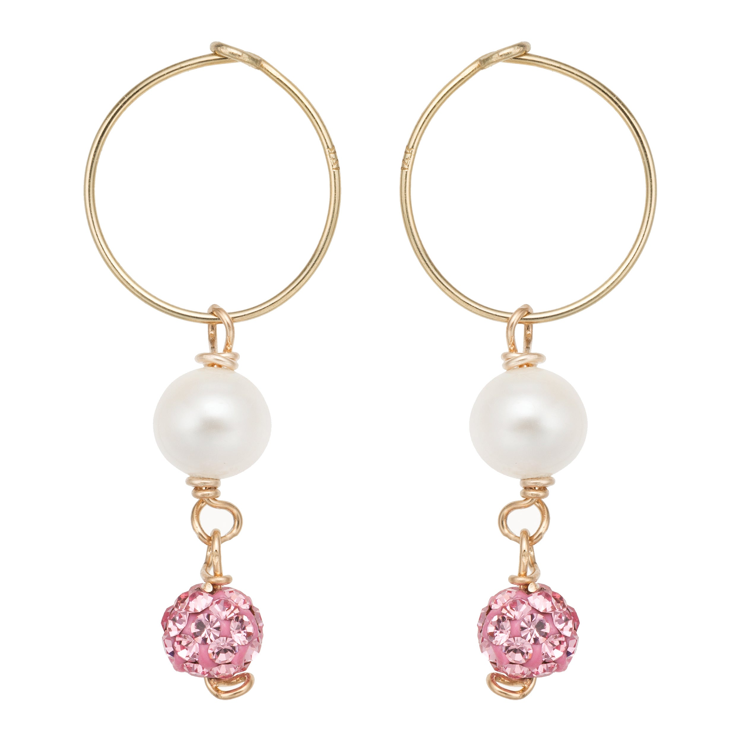 Pearlyta 14k Gold Freshwater Pearl And Pink Crystal Hoop Earrings With Gift Box 5 6 Mm On Free Shipping Orders Over 45