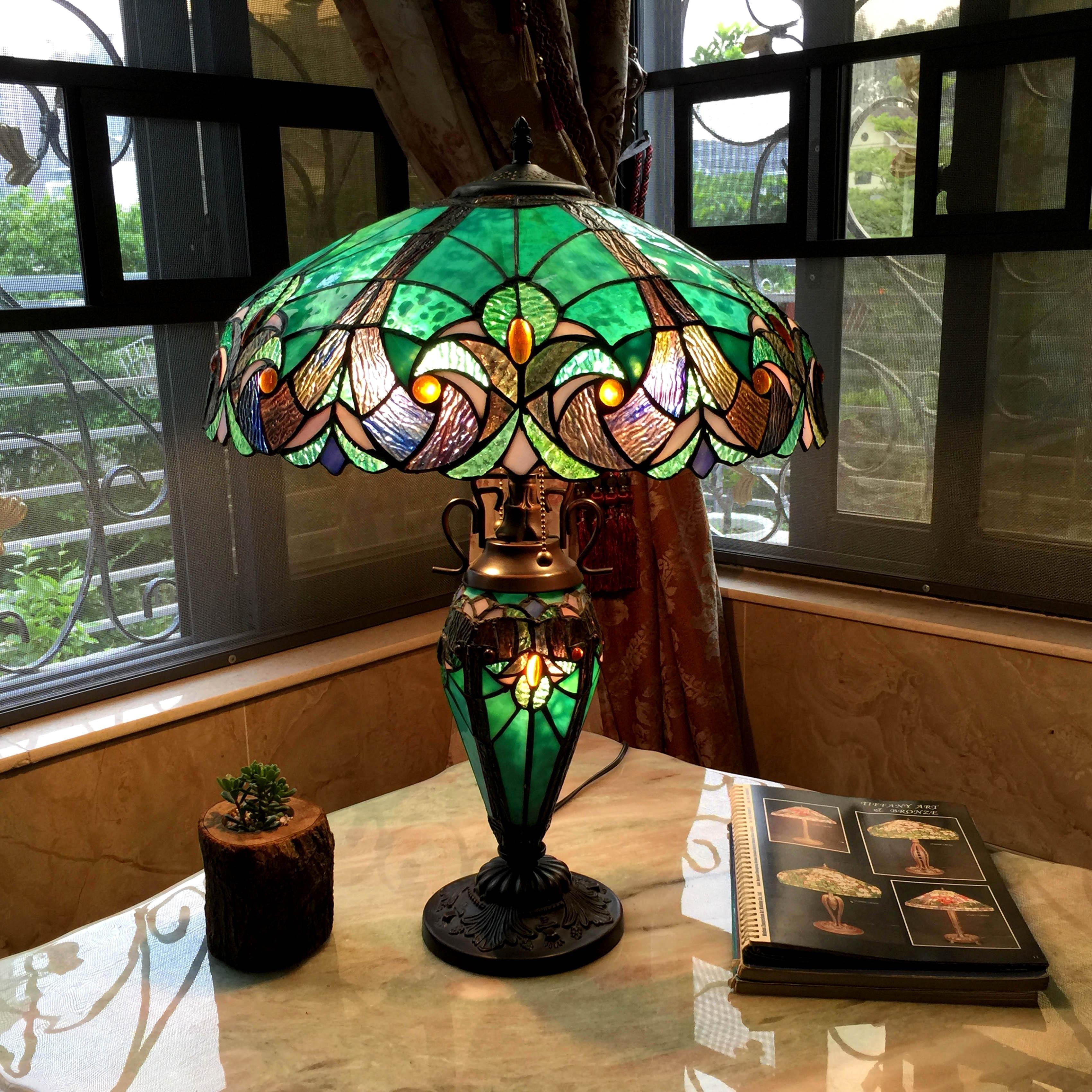 Shop chloe tiffany style halston double lit 21 light table lamp chloe tiffany style halston double lit 21 light table lamp mozeypictures Choice Image