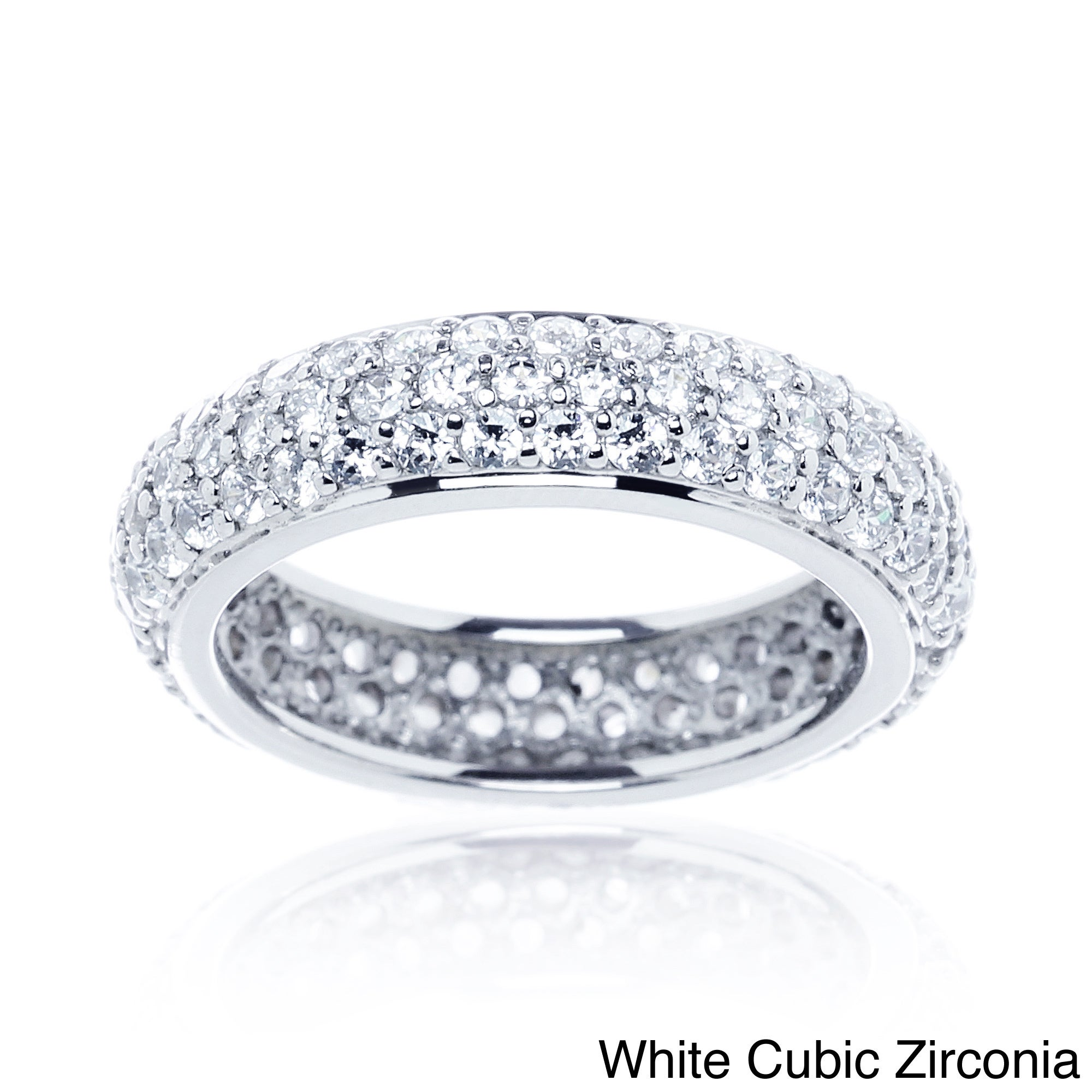 matching cubic plain cushion zirconia ring eternity ct bands solitaire cz band set