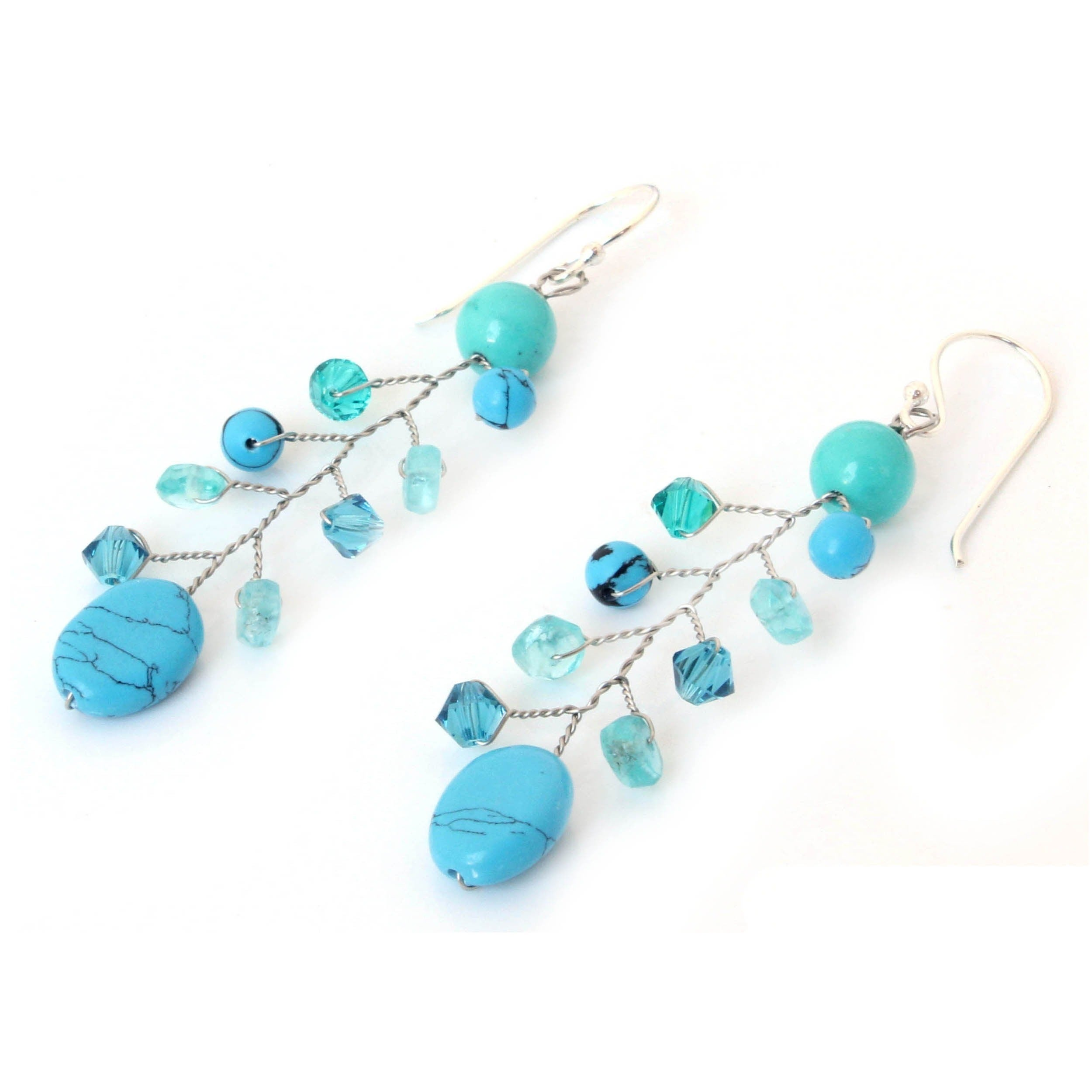 apatite with topaz chalcedony design and penelope cluster blue tanzanite the earrings