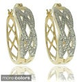 Finesque 18k Gold or Silver Overlay Diamond Accent Braided Hoop Earrings