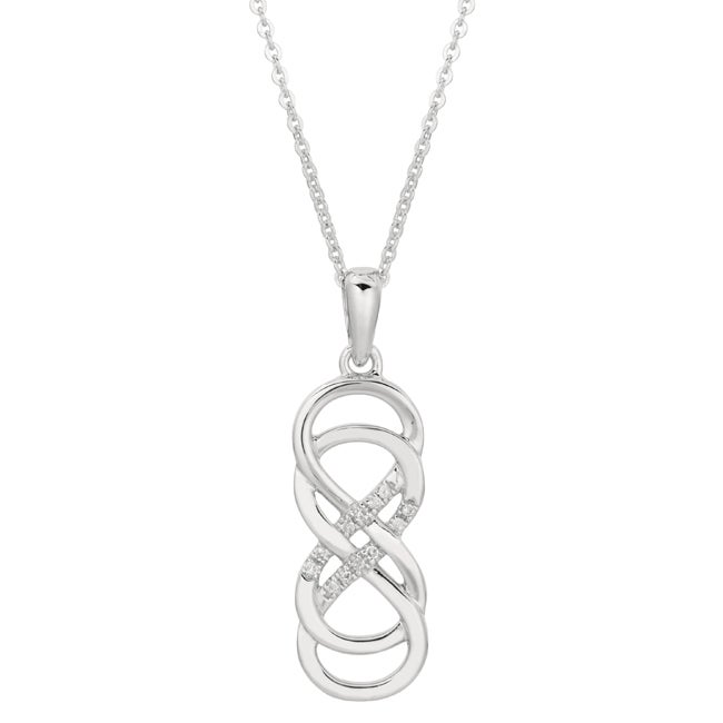 Shop Sterling Silver Diamond Accent Double Infinity Necklace Free