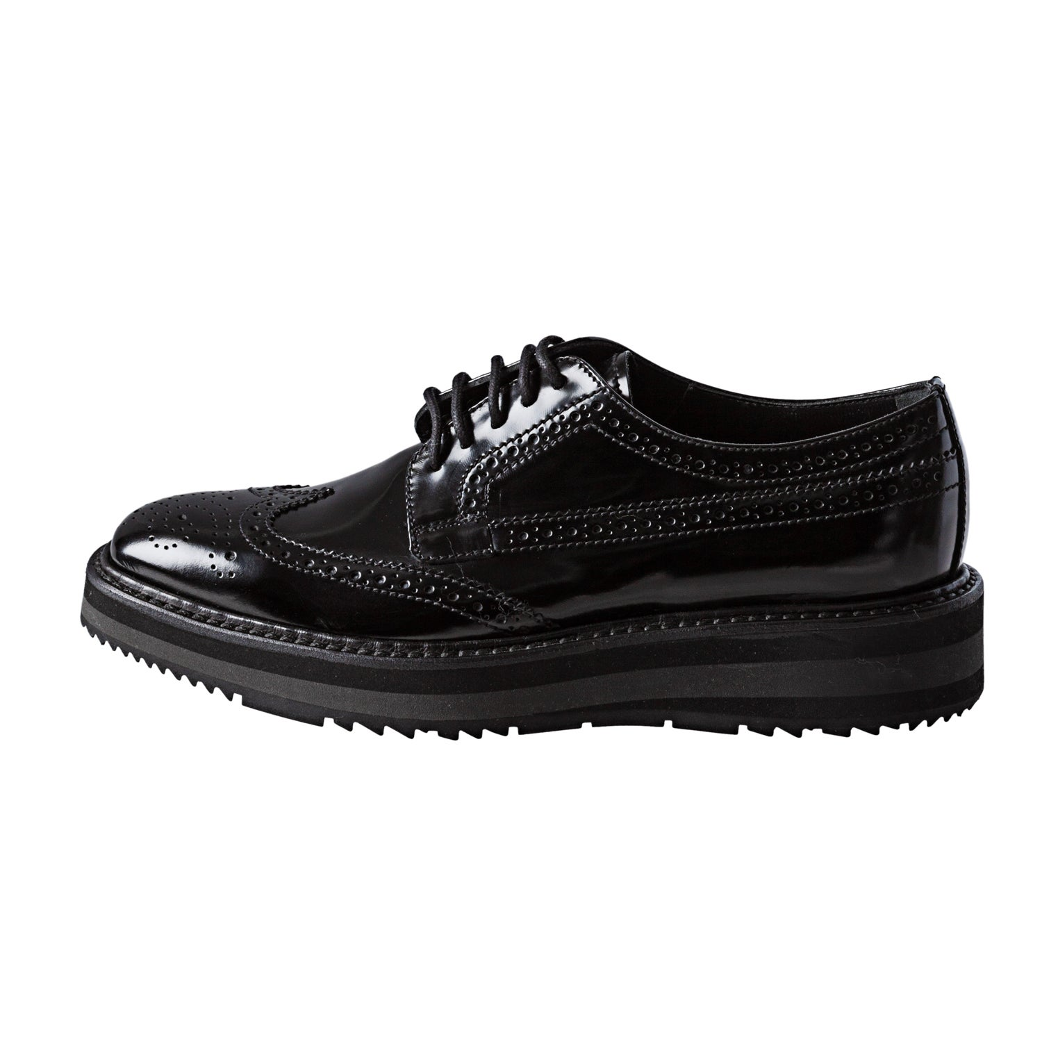 227d43a1923 Shop Prada Women s  Brogue  Black Leather Platform Oxfords - Free Shipping  Today - Overstock - 7972262