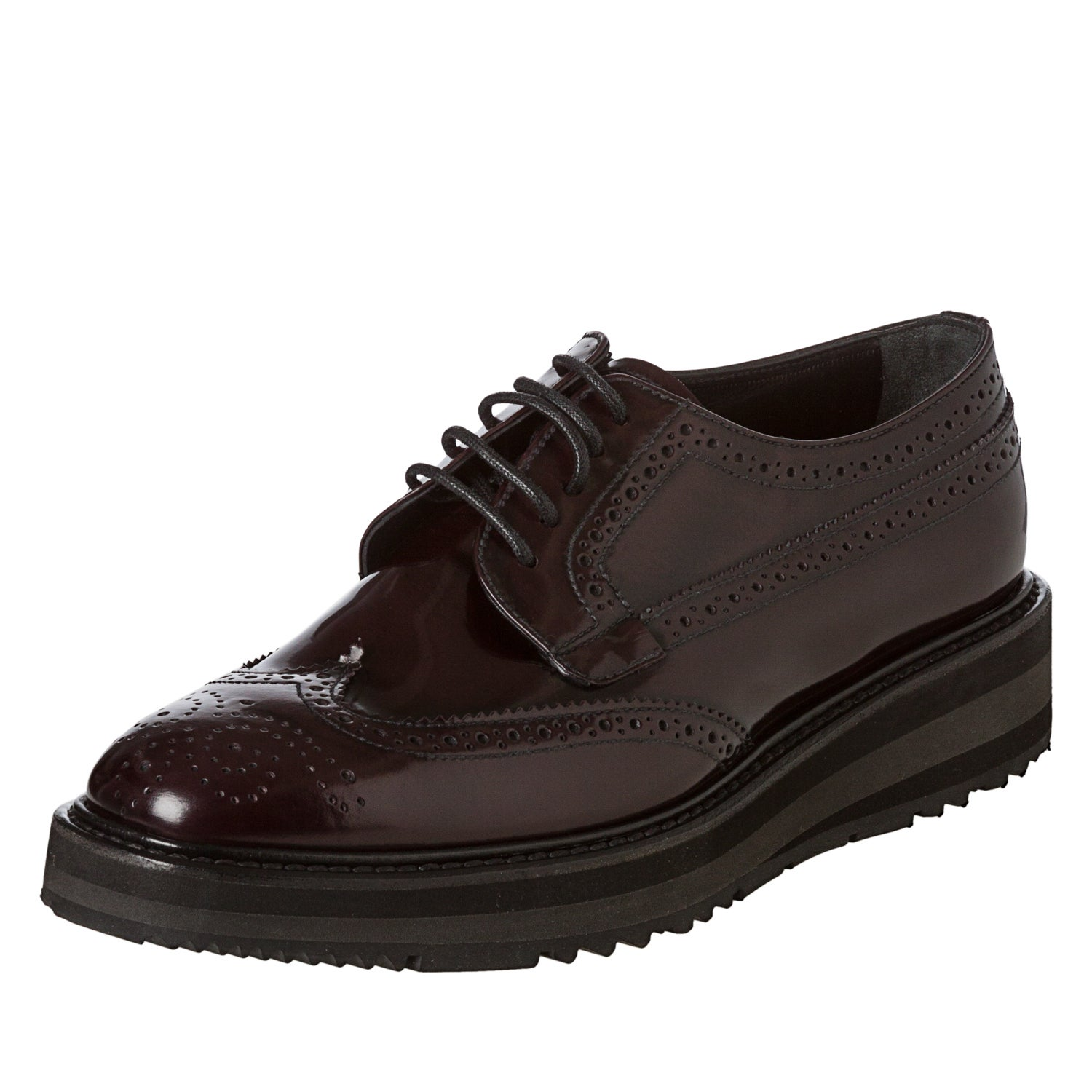 630474be Prada Women's 'Brogue' Burgundy Leather Platform Oxfords
