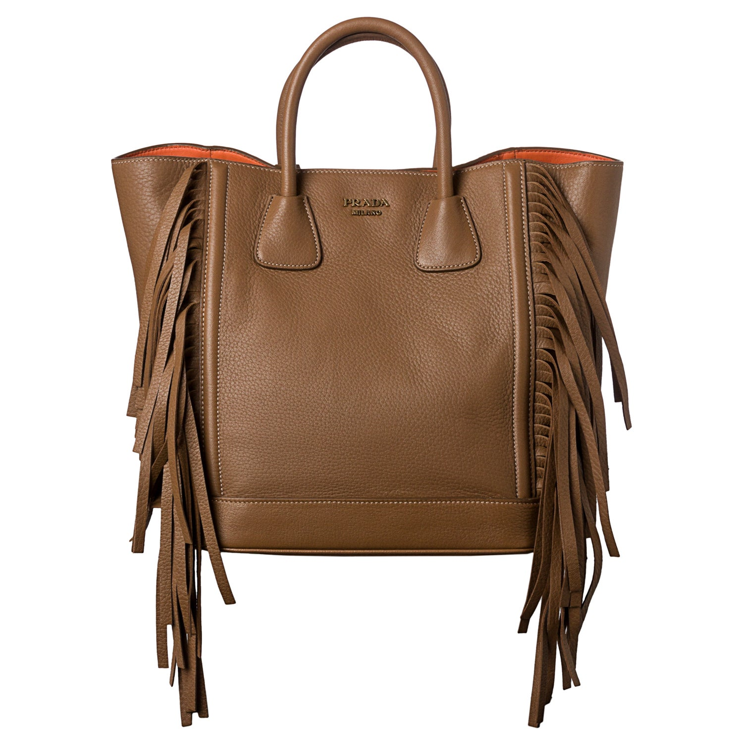 Shop Prada  Cervo  Camel Leather Side Fringe Tote Bag - Ships To Canada -  Overstock.ca - 7972277 50fa2e102cd3c