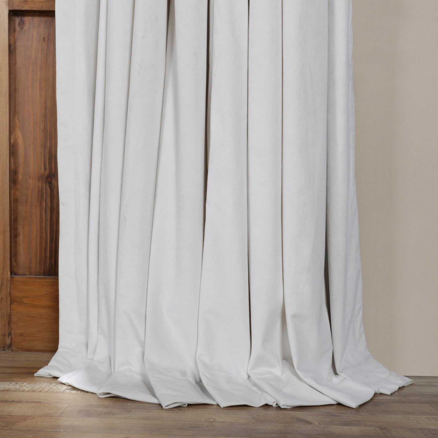Exclusive Fabrics f White Velvet Blackout Extra Wide Curtain Panel