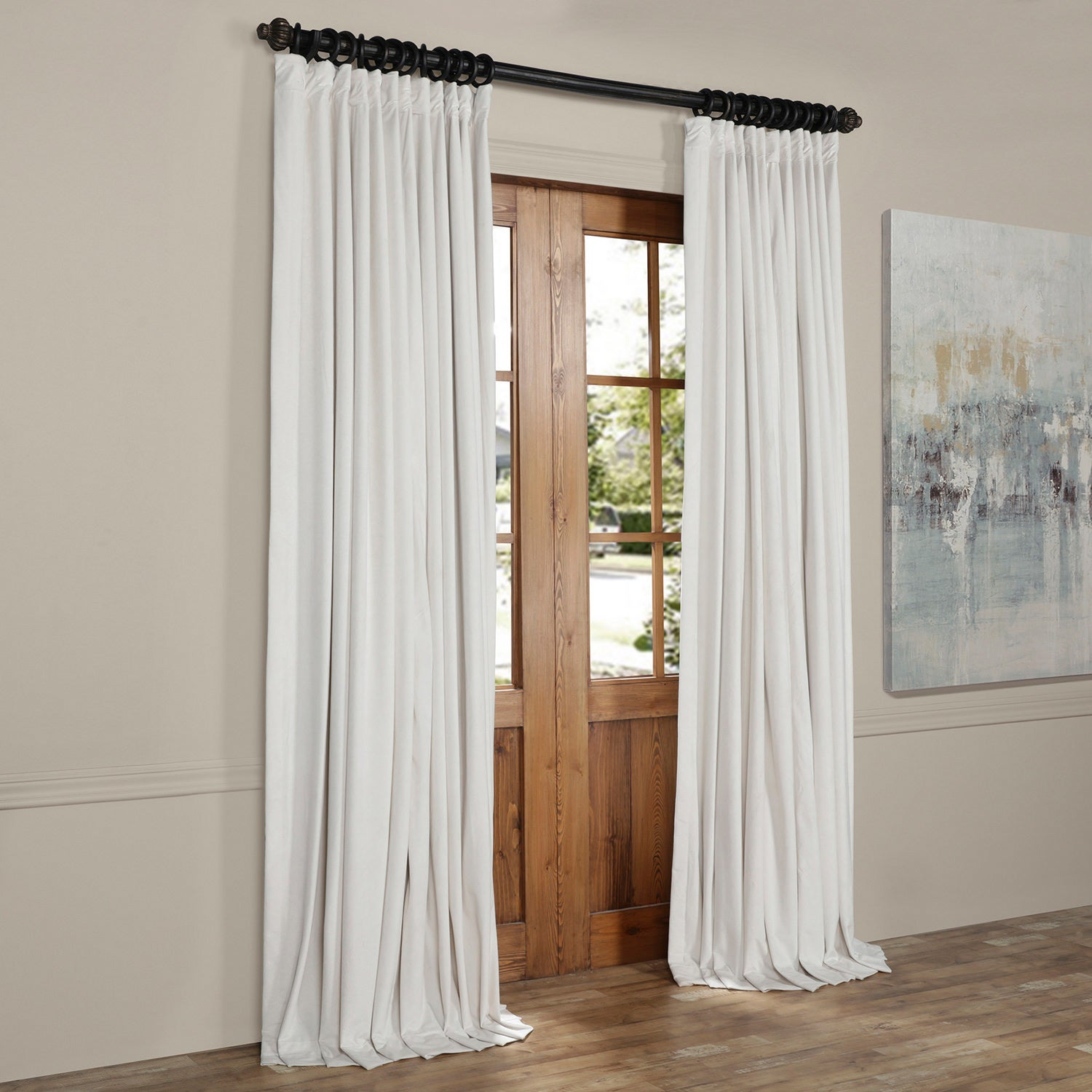 concealed curtains tab ready blackout made top plain velvet hotham blue