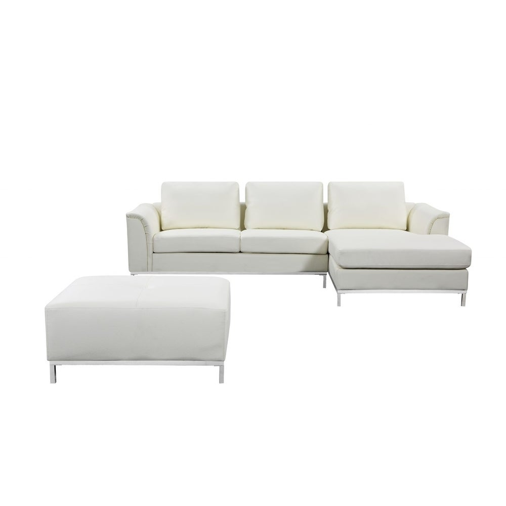 Shop Modern Beige Leather Sectional Sofa With Ottoman   OLLON   On Sale    Free Shipping Today   Overstock.com   7972858