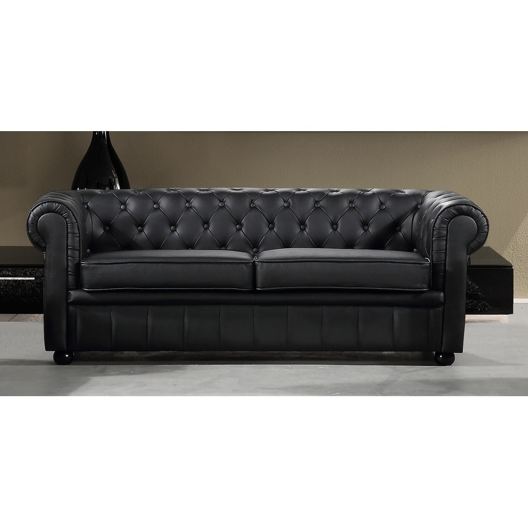 Black Leather 3 Seater Chesterfield Style Sofa By Velago Avignon On Free Shipping Today 7972868
