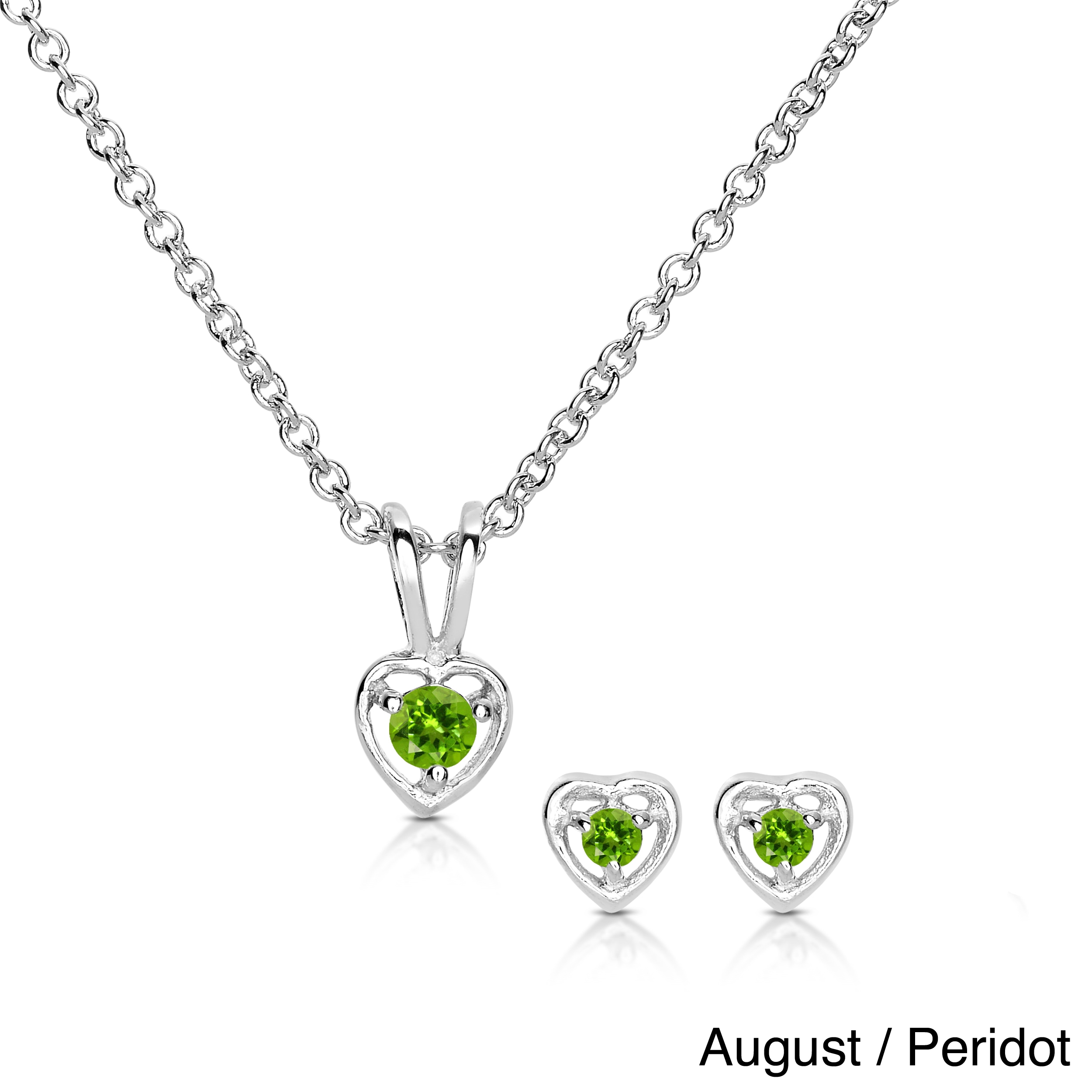 Molly and Emma Sterling Silver Children's Birthstone Heart Jewelry Set -  Free Shipping On Orders Over $45 - Overstock.com - 15344763