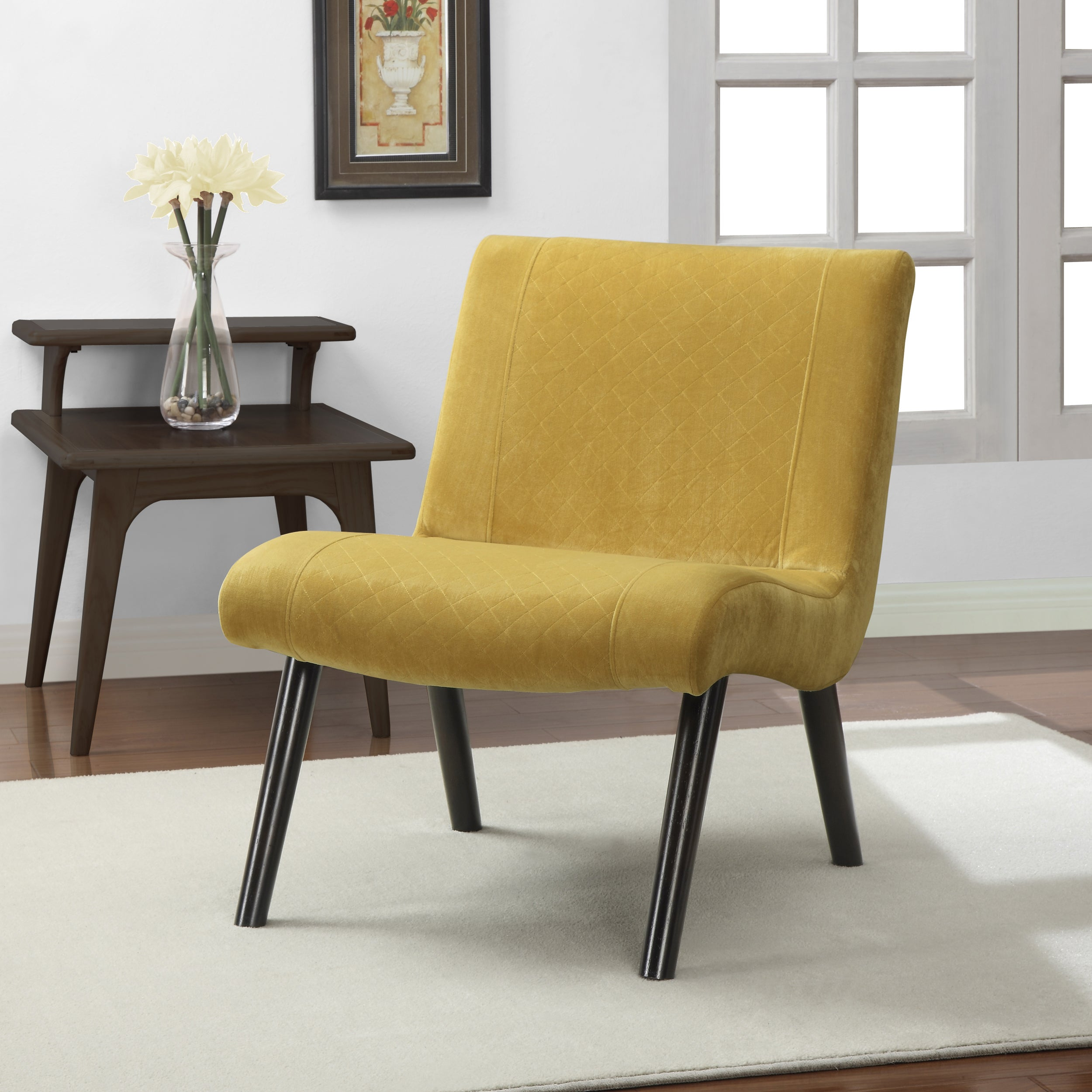 Ordinaire Shop Palm Canyon Quilted Mustard Yellow Upholstery Armless Chair   Free  Shipping Today   Overstock.com   7978452