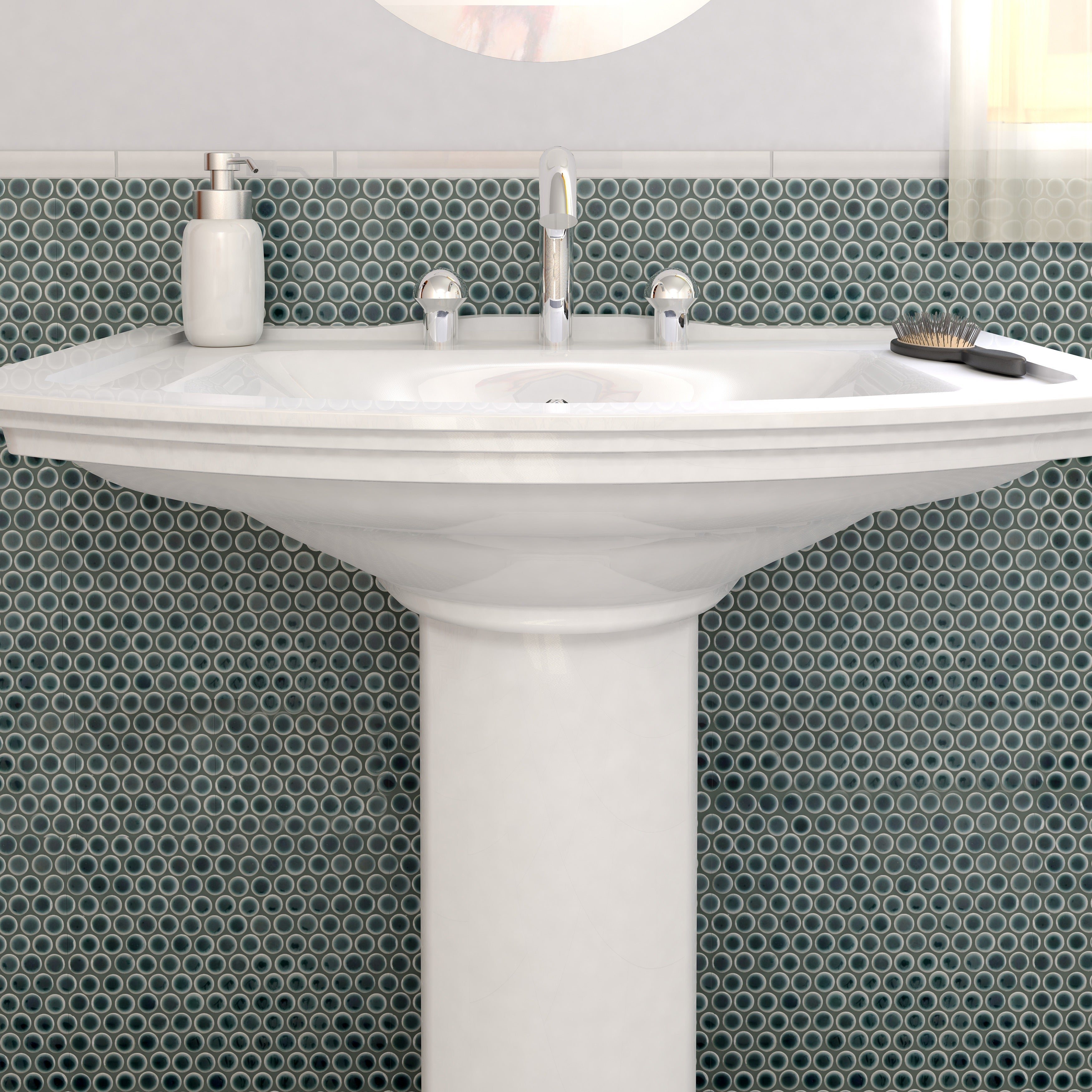 SomerTile 12 x 12.625-inch Penny Emerald Porcelain Mosaic Floor and Wall  Tile (Pack of 10) - Free Shipping On Orders Over $45 - Overstock.com -  15352590