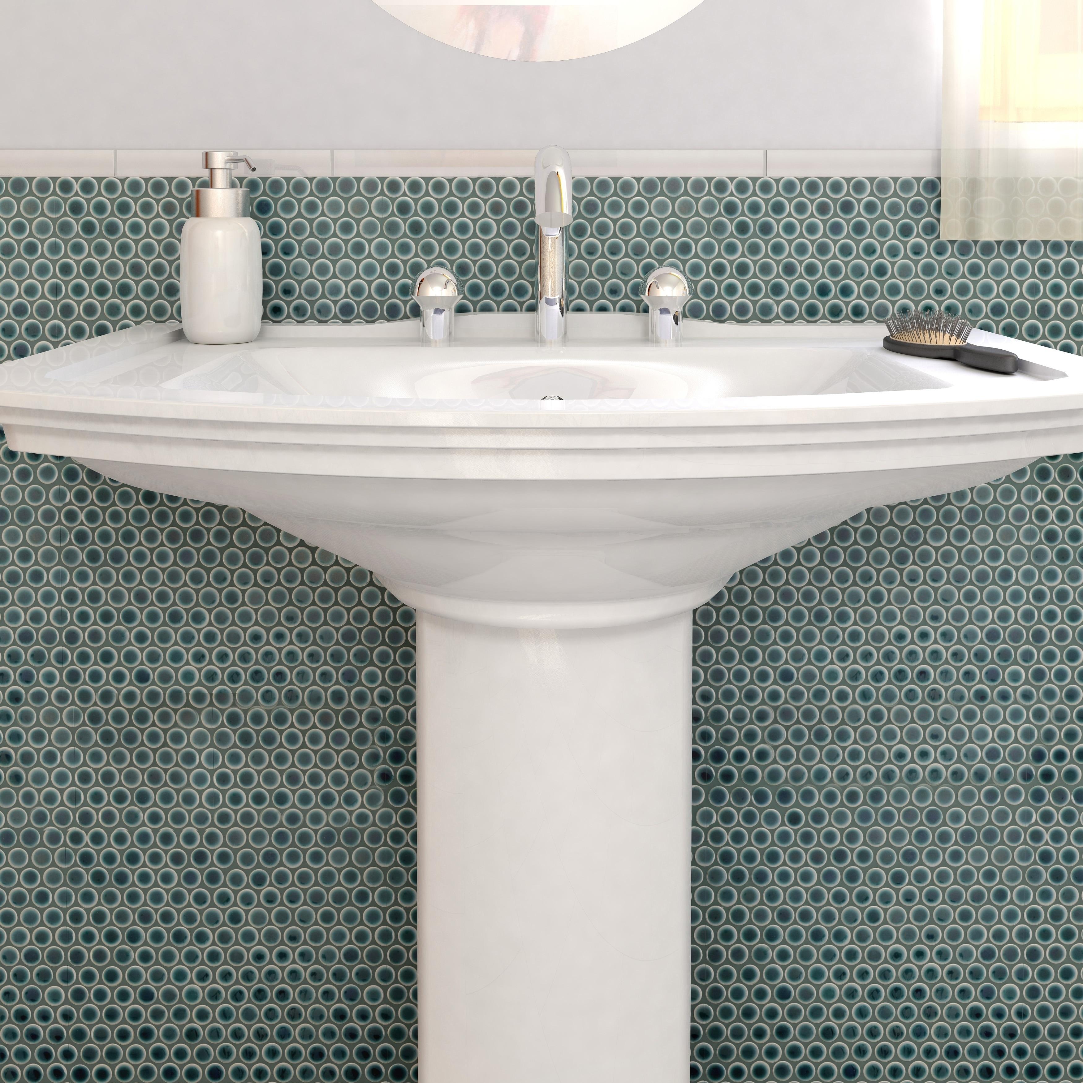 Shop SomerTile Penny Emerald Porcelain Mosaic Floor and Wall Tile ...