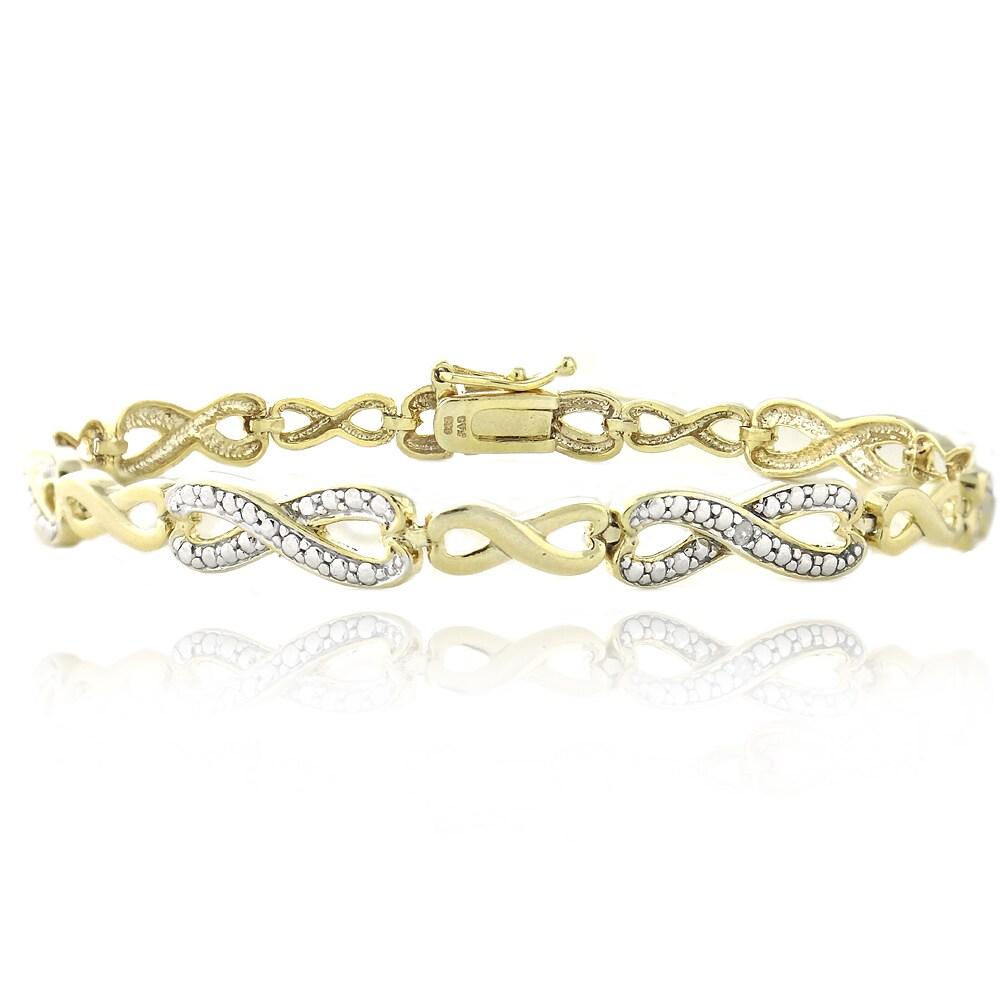 29523555c6c7aa DB Designs 18k Gold over Silver Diamond Accent Infinity Bracelet