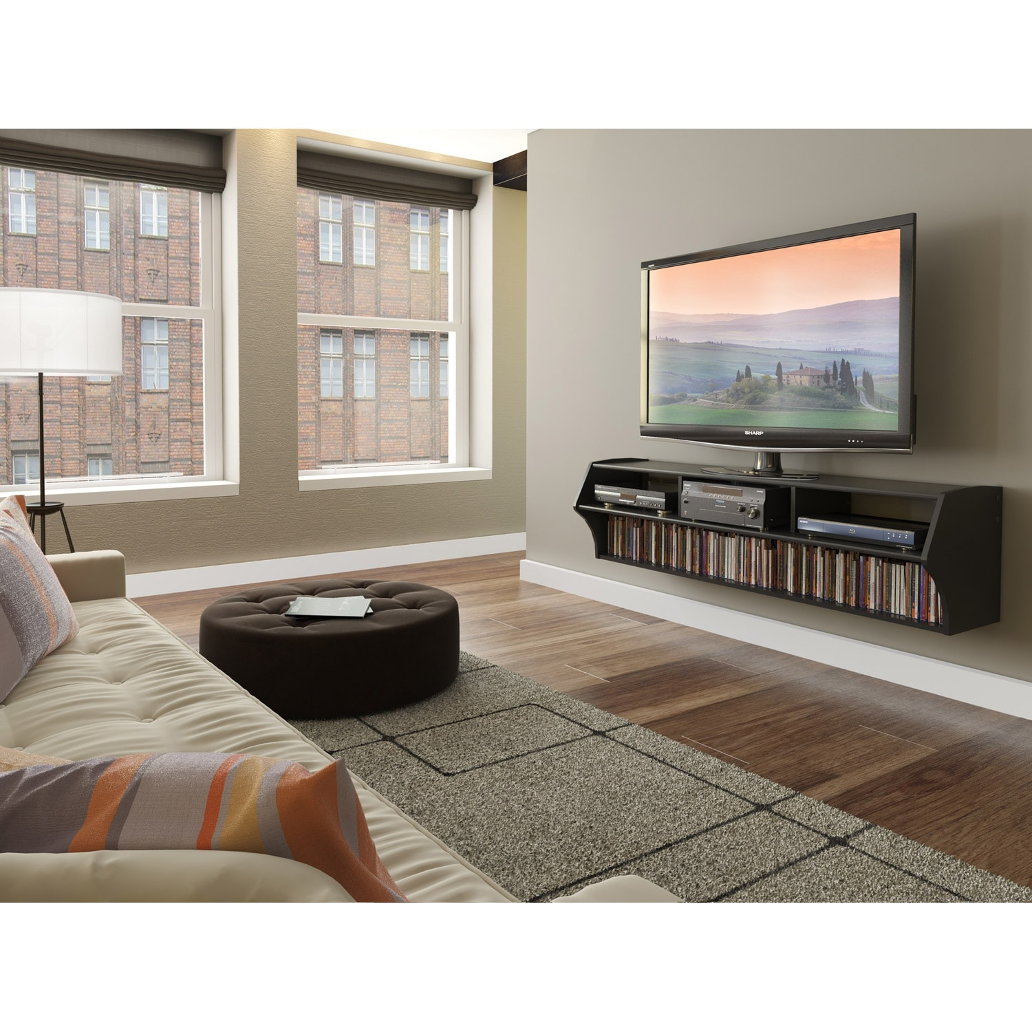 Broadway Altus Plus Black 58 Inch Floating Tv Stand Free Shipping Today 7986250