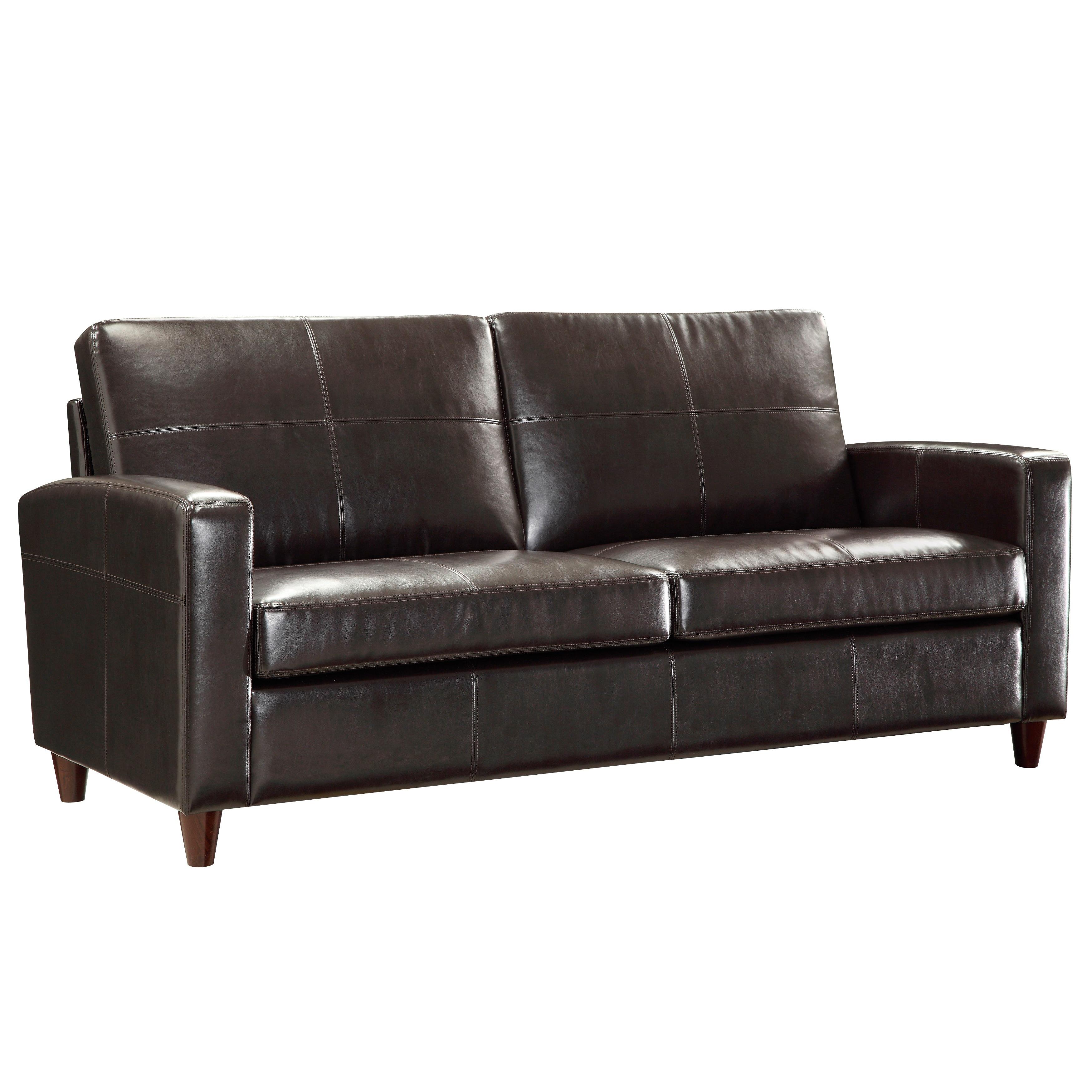 Office Star Espresso Bonded Leather Sofa With Espresso Finish Legs - N/A