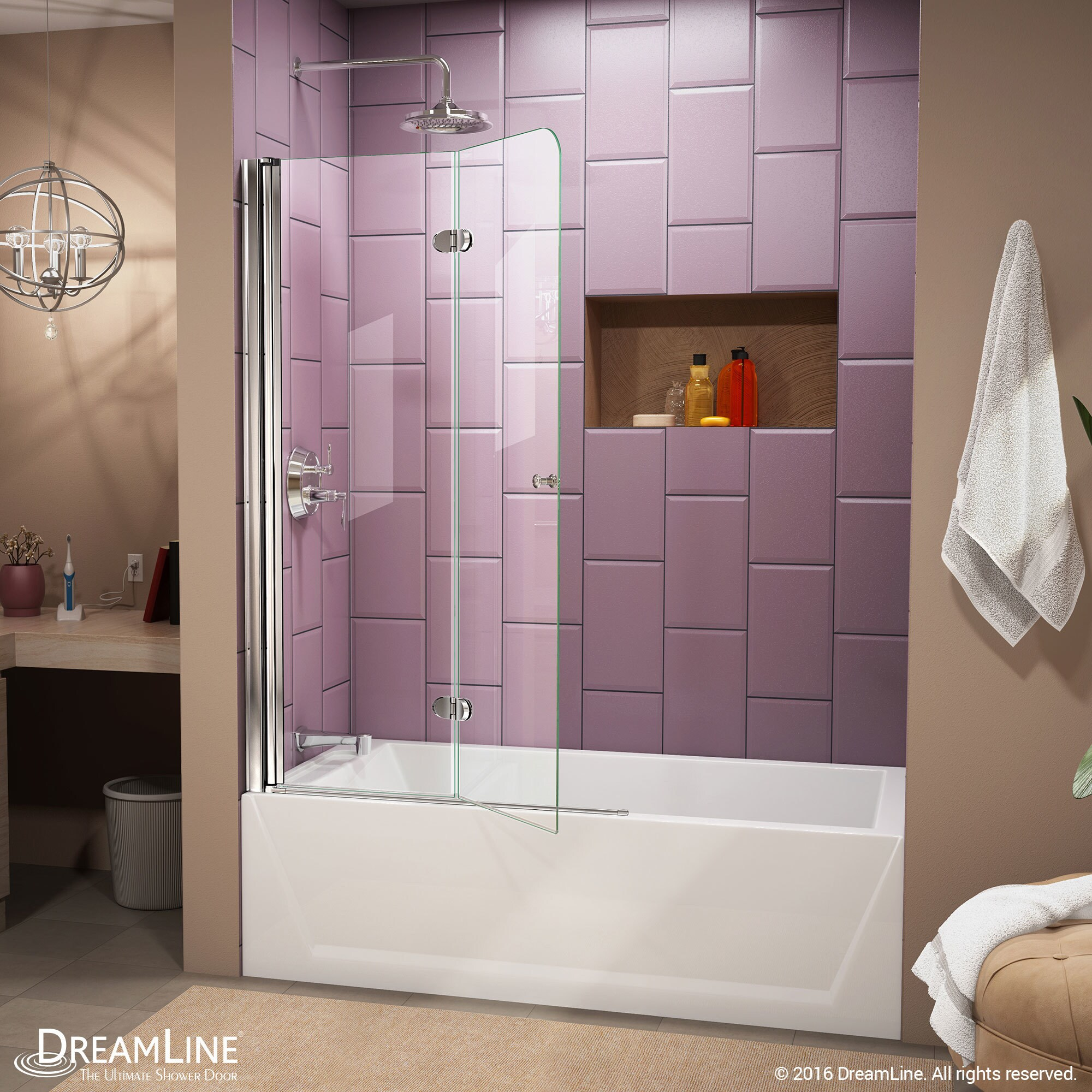 DreamLine Aqua Fold 36 in. Frameless Hinged Tub Door - Free Shipping ...