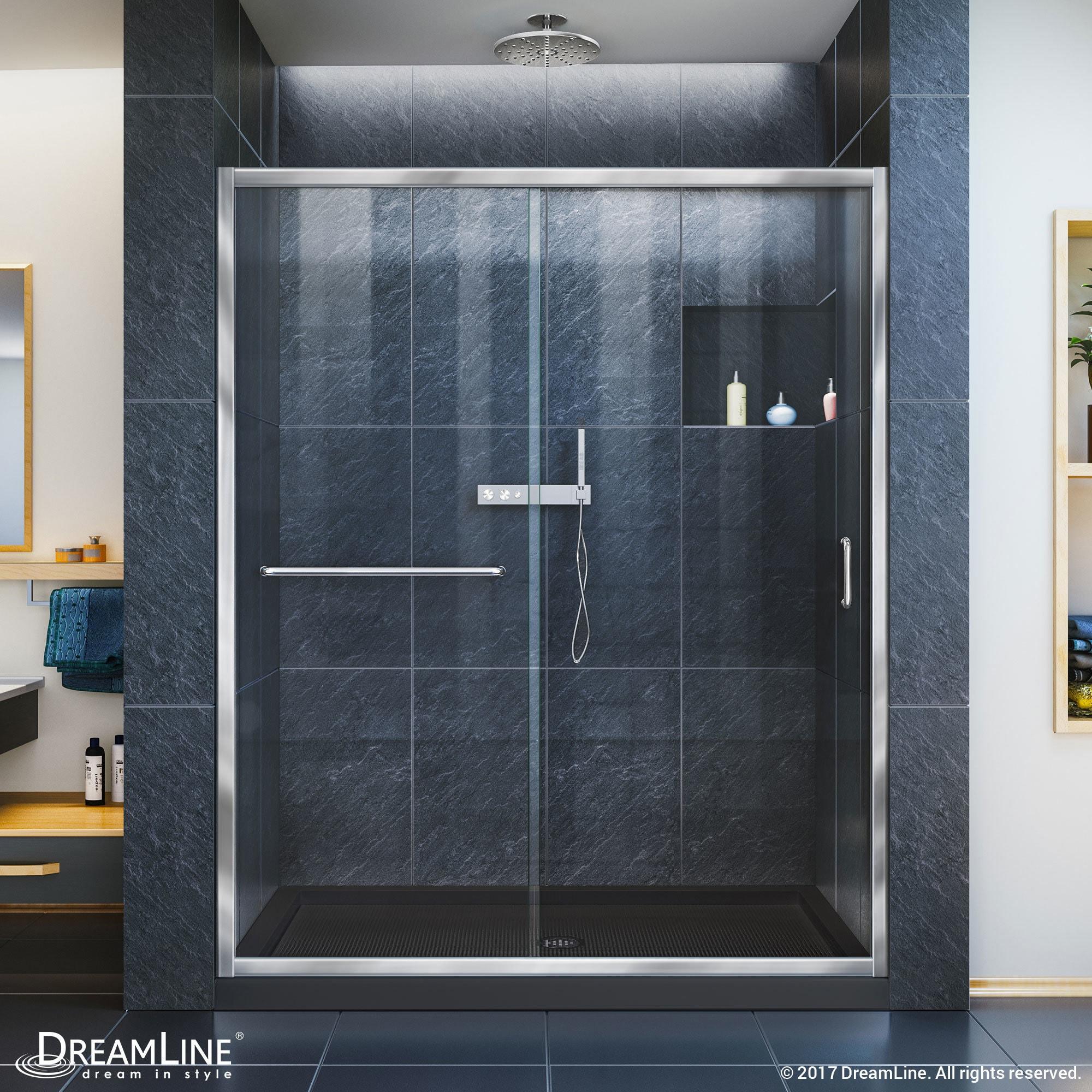 Dreamline Infinity Z 56 60 In W X 72 H Semi Frameless Sliding Shower Door Clear Gl Free Shipping Today 7990102