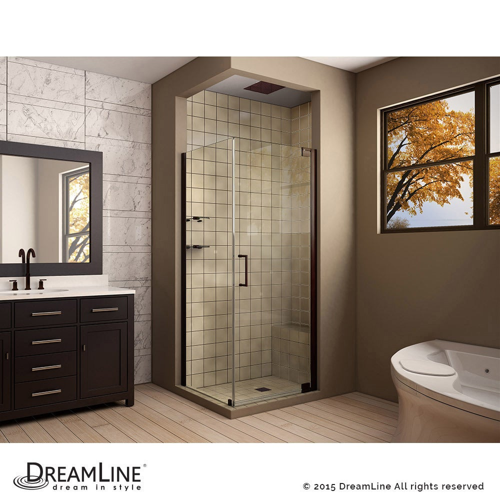 Shop DreamLine Elegance 34 in. by 32 in. Frameless Pivot Shower ...