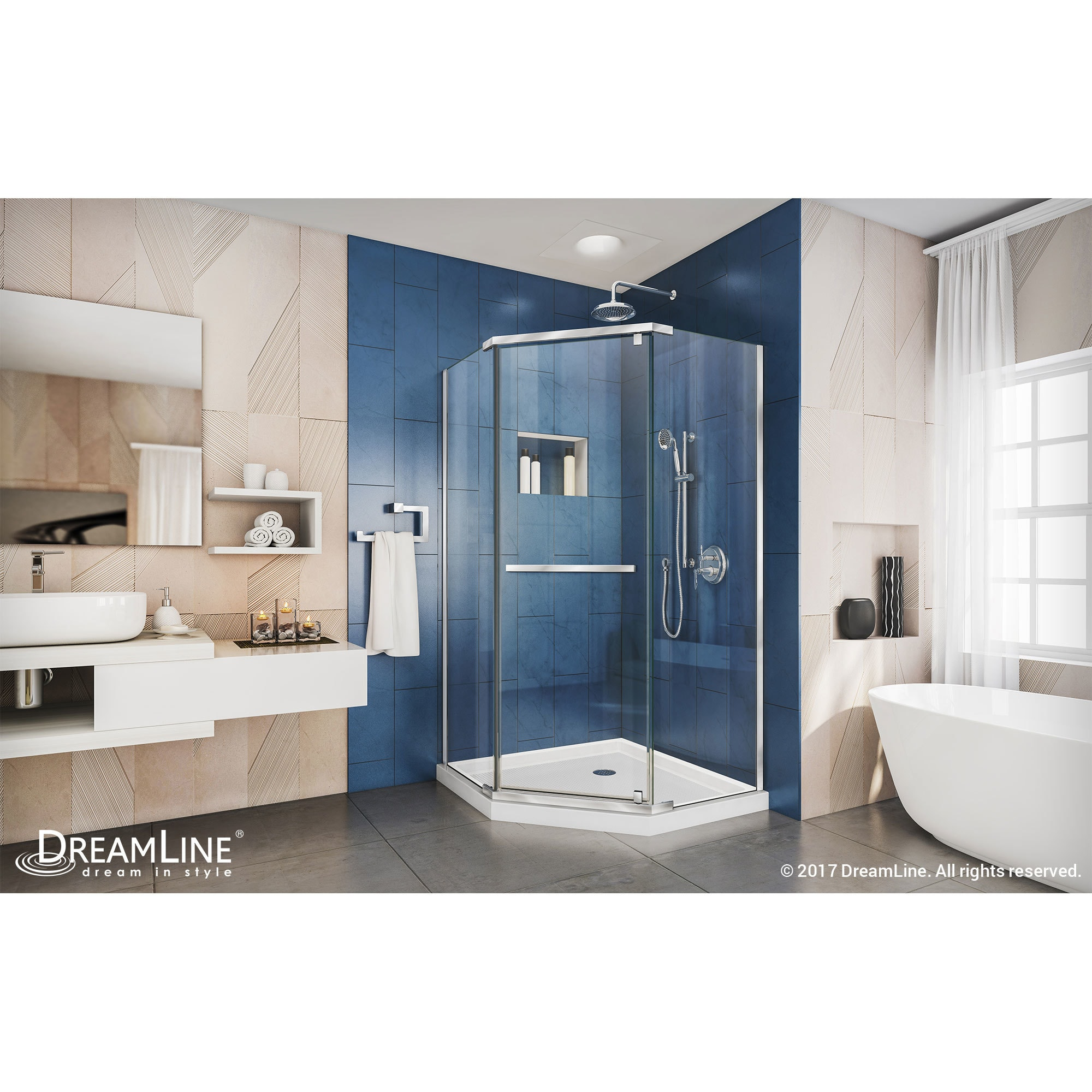 Shop DreamLine Prism 34 1/8 in. by 34 1/8 in. Frameless Pivot Shower ...