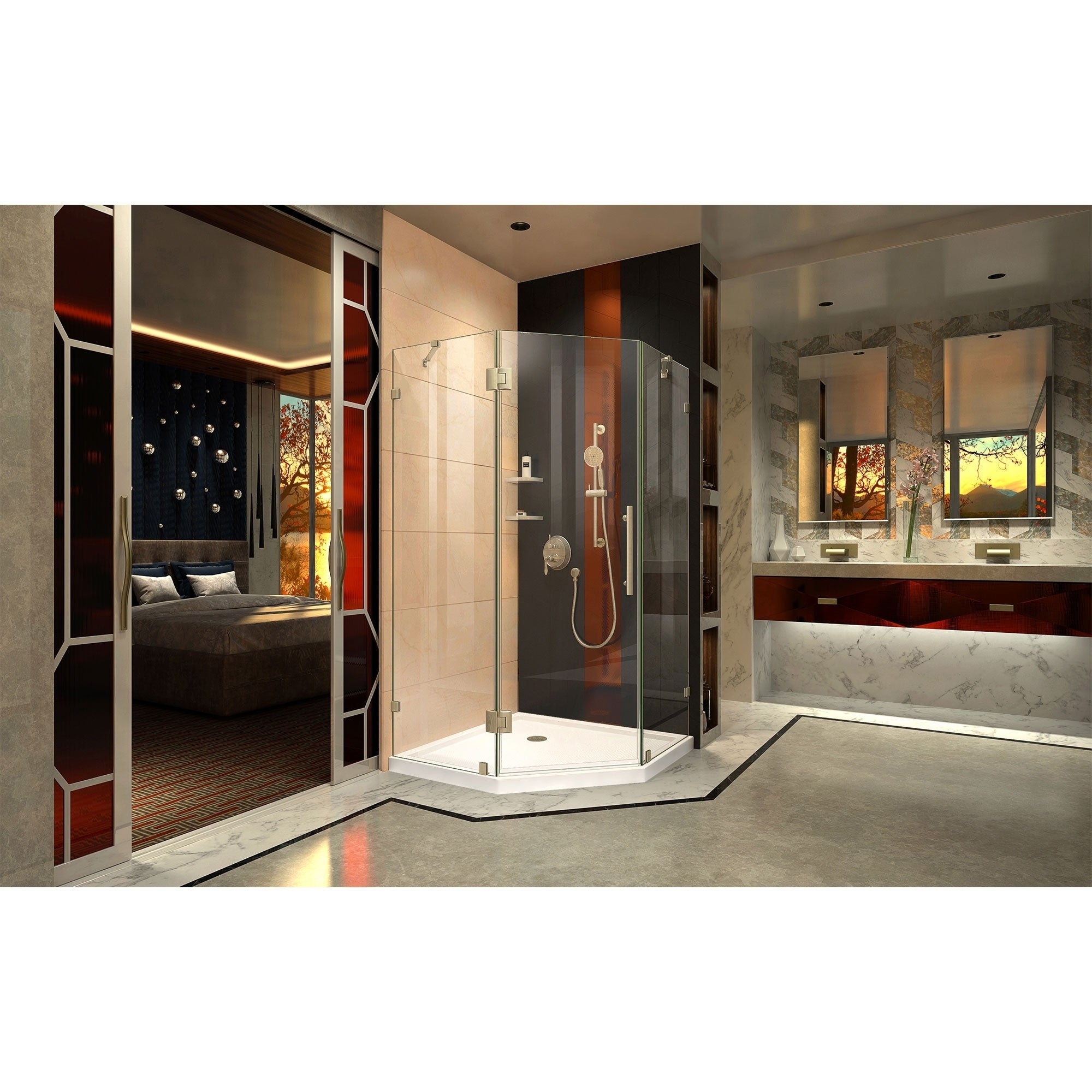 Shop DreamLine Prism Lux 34 5/16 in. by 34 5/16 in. Frameless Hinged ...