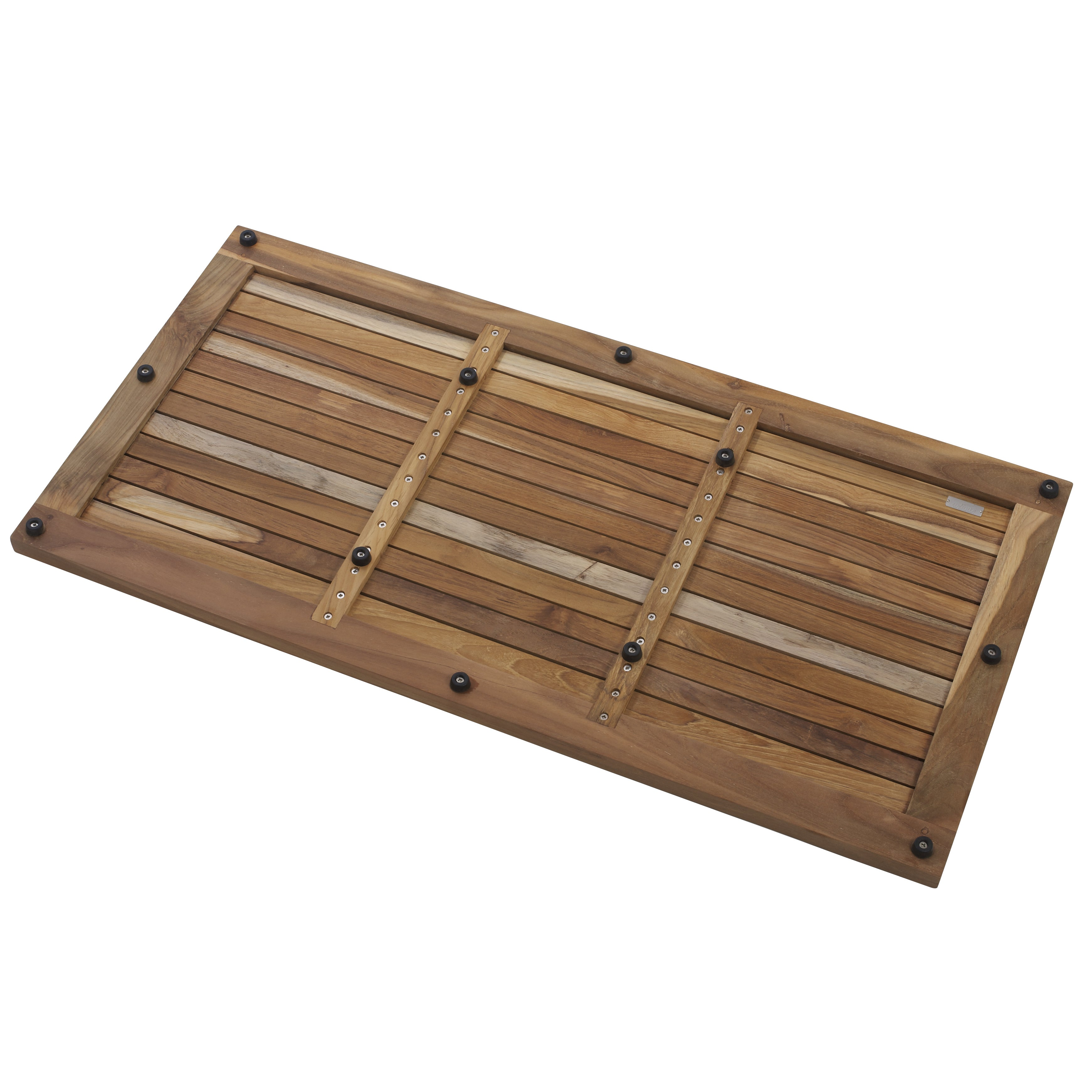 Le Spa Greenface Teak Reclaimed Finish Floor And Shower Mat