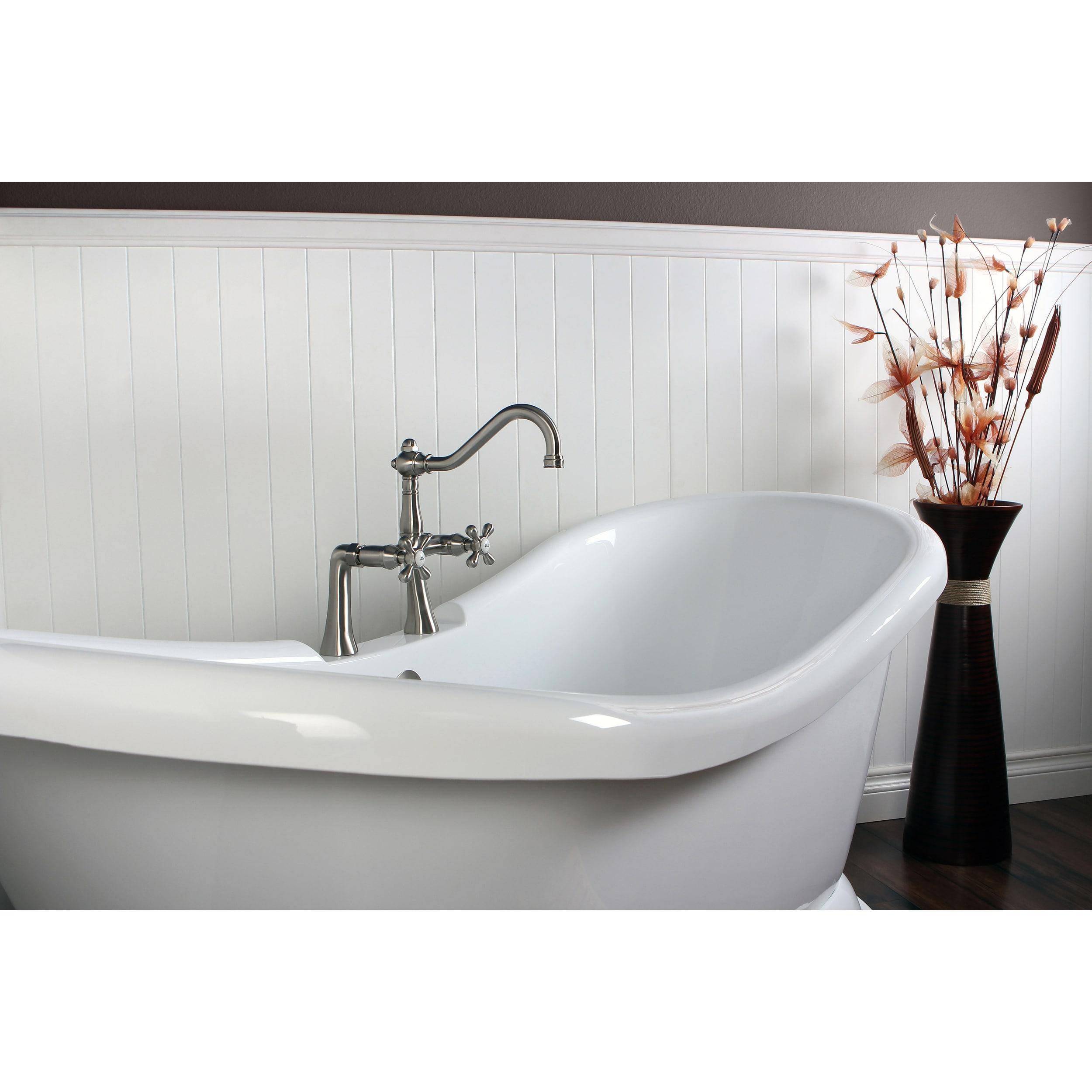 Shop Contemporary Double Slipper 69-inch Pedestal Bathtub - Free ...