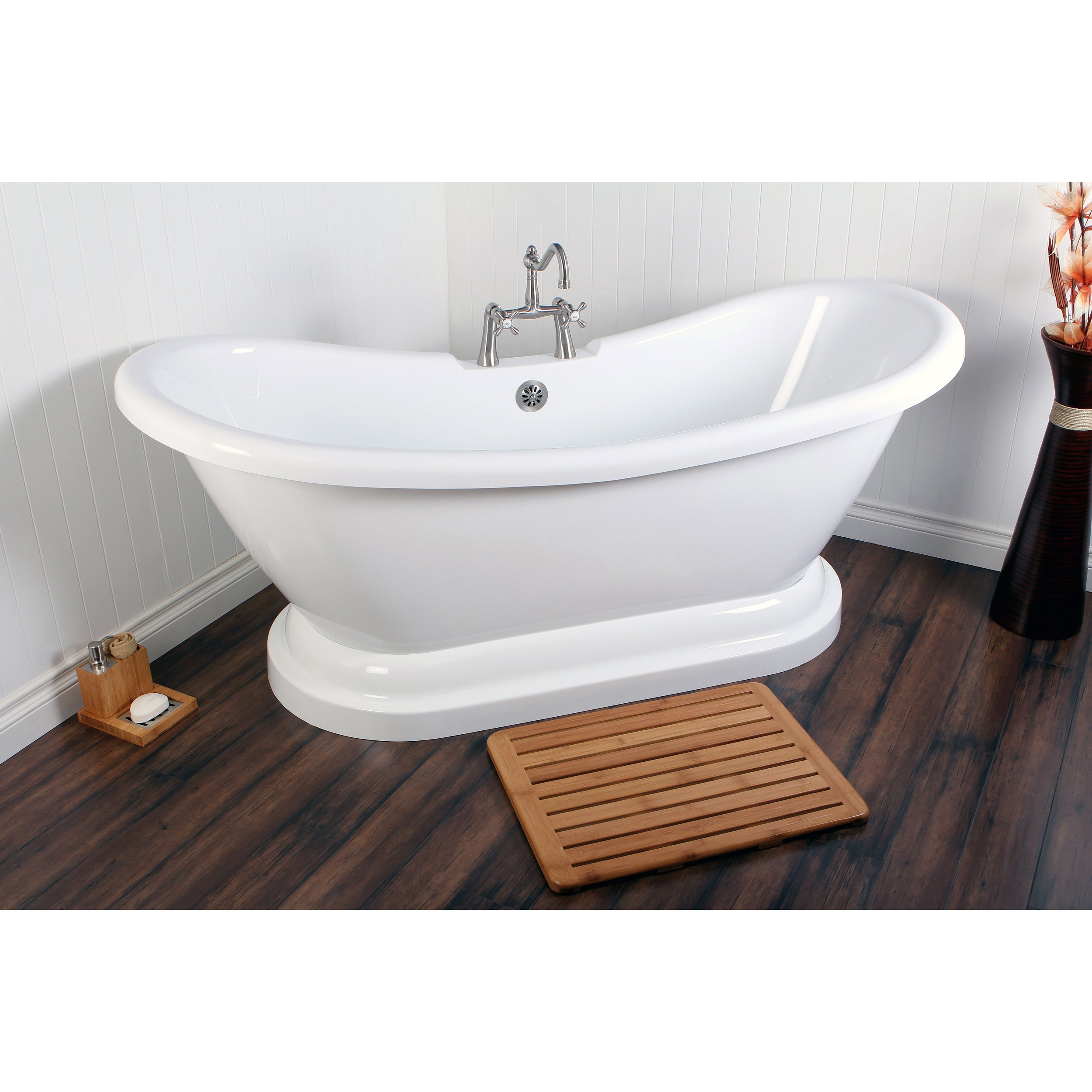Contemporary Double Slipper 69-inch Pedestal Bathtub - Free Shipping ...