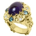 Dallas Prince Goldtone Amethyst, London Blue Topaz and Sapphire Ring