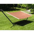 Grand Quilted Two-person Hammock and Stand Set - Brown